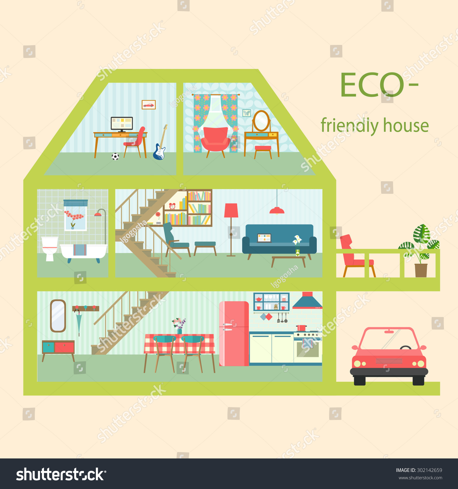 Flat Ecofriendly House Section Interior Living Stock