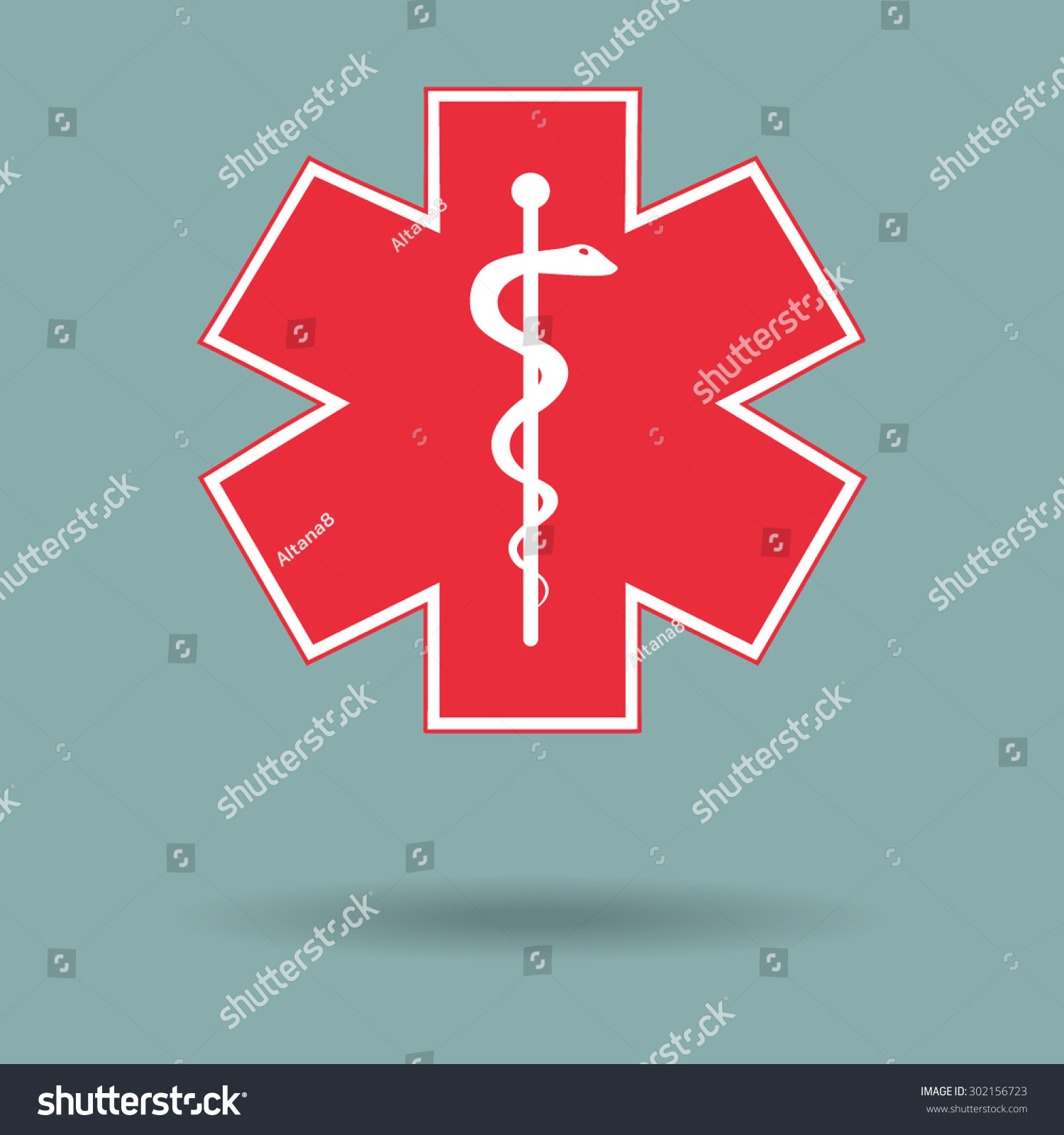Red Medical Symbol Emergency Star Life Stock Vector 302156723