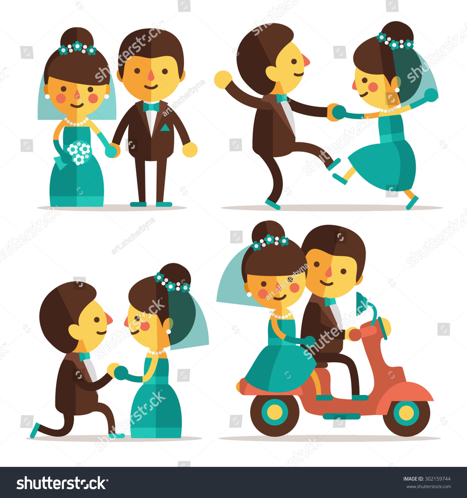 Set Flat Characters Wedding Ceremony Bride Stock Vector Royalty