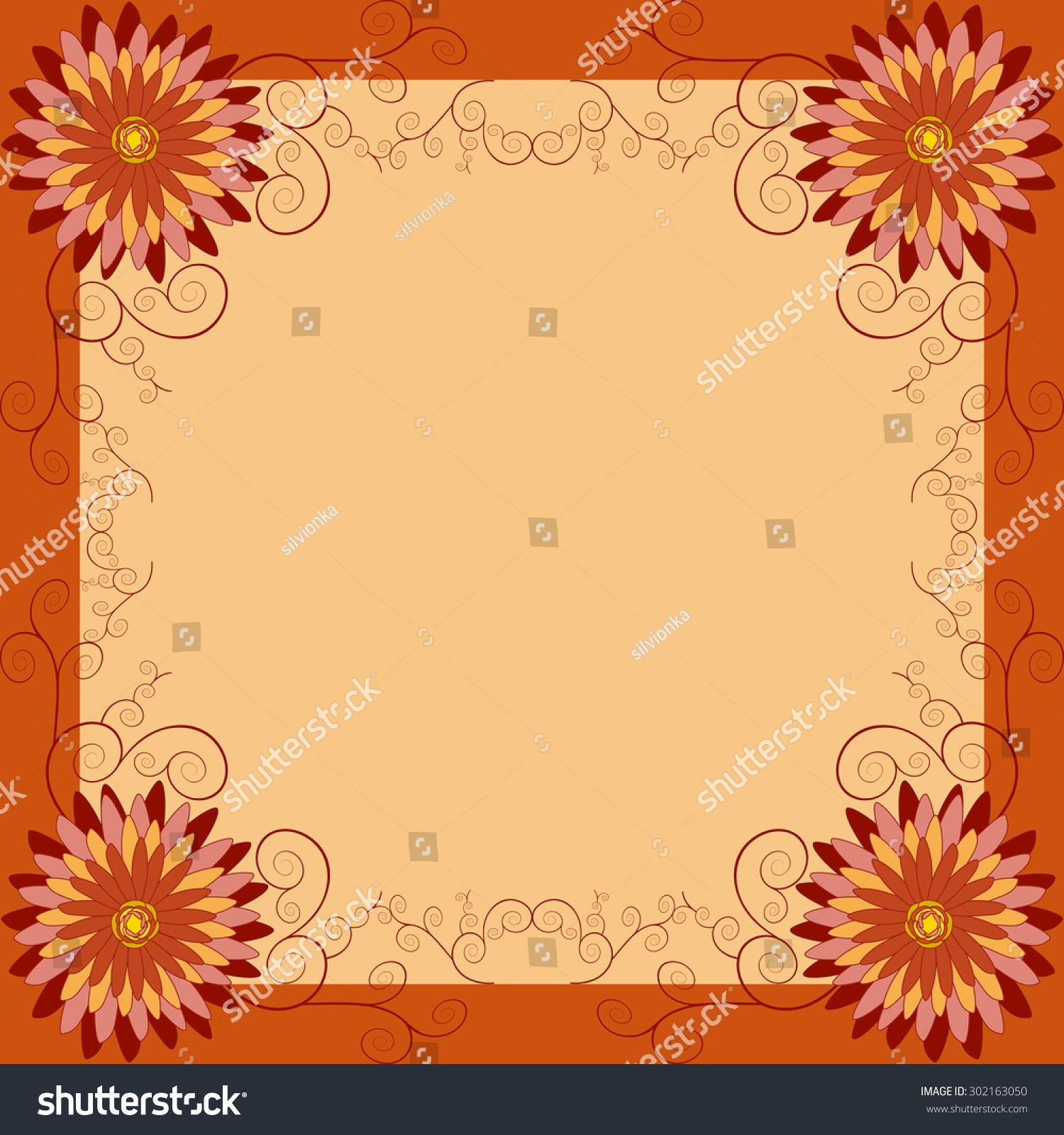 Background Orange Red Yellow Flower Chrysanthemum Stock Vector