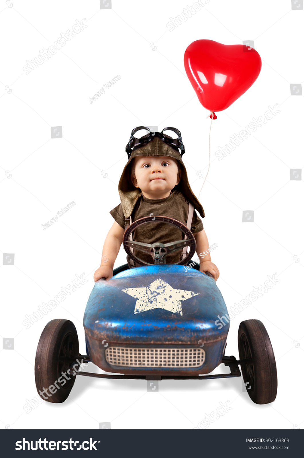 Little Boy With Toy Car : Happy little boy driving big vintage stock photo