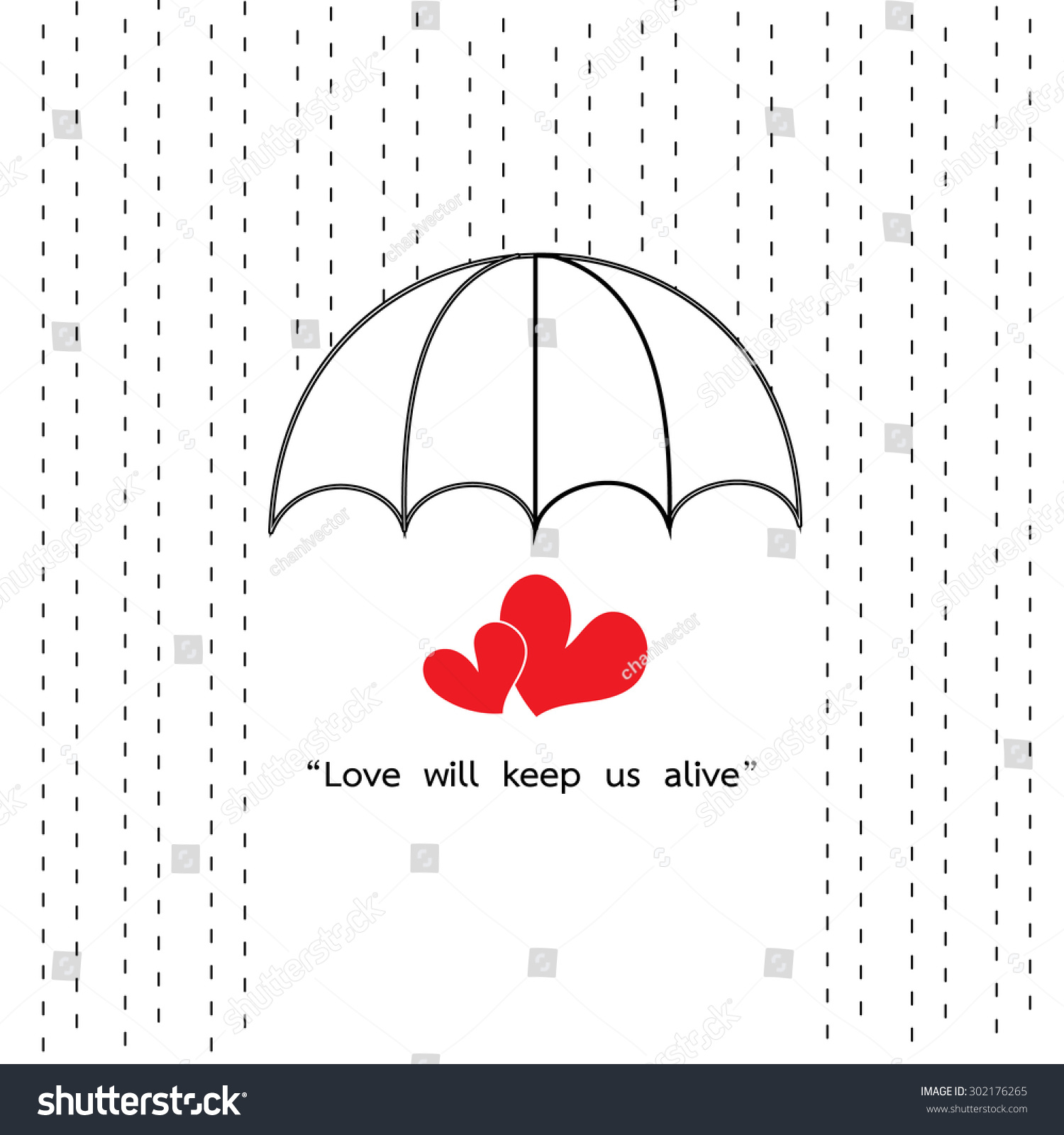 umbrella protect rainy with two heart and quotes love