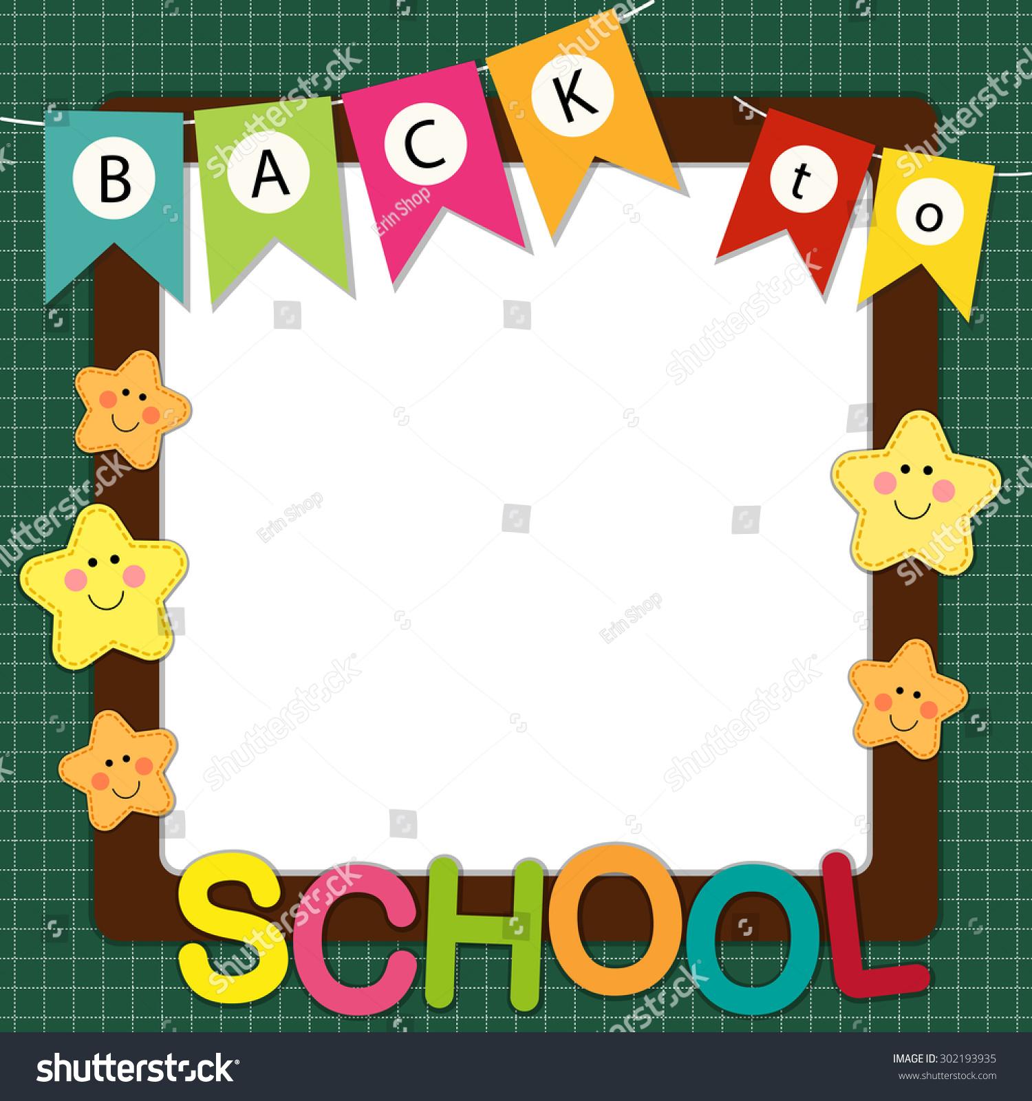 Cute Back School Frame Bunting Multicolored Stock Illustration ...