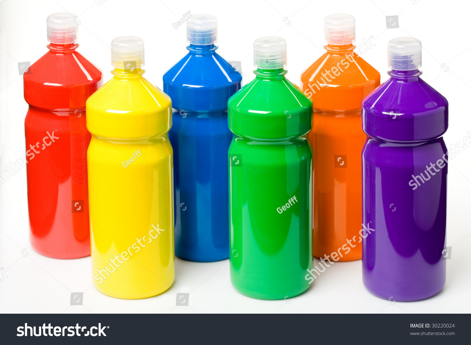 Bottles of paint stock photo 30220024 shutterstock for Can acrylic paint be used on glass bottles