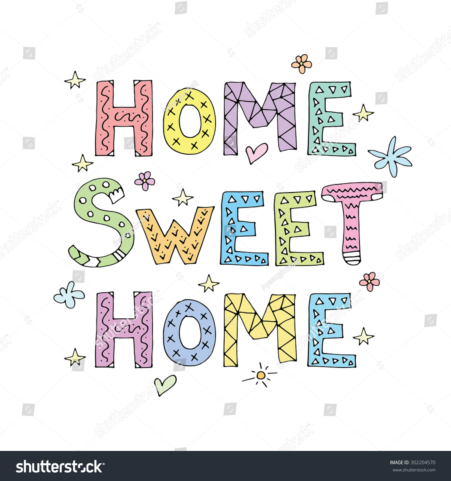 Home sweet home typography cute cheerful stock vector 302204570 shutterstock - Home sweet home designs ...