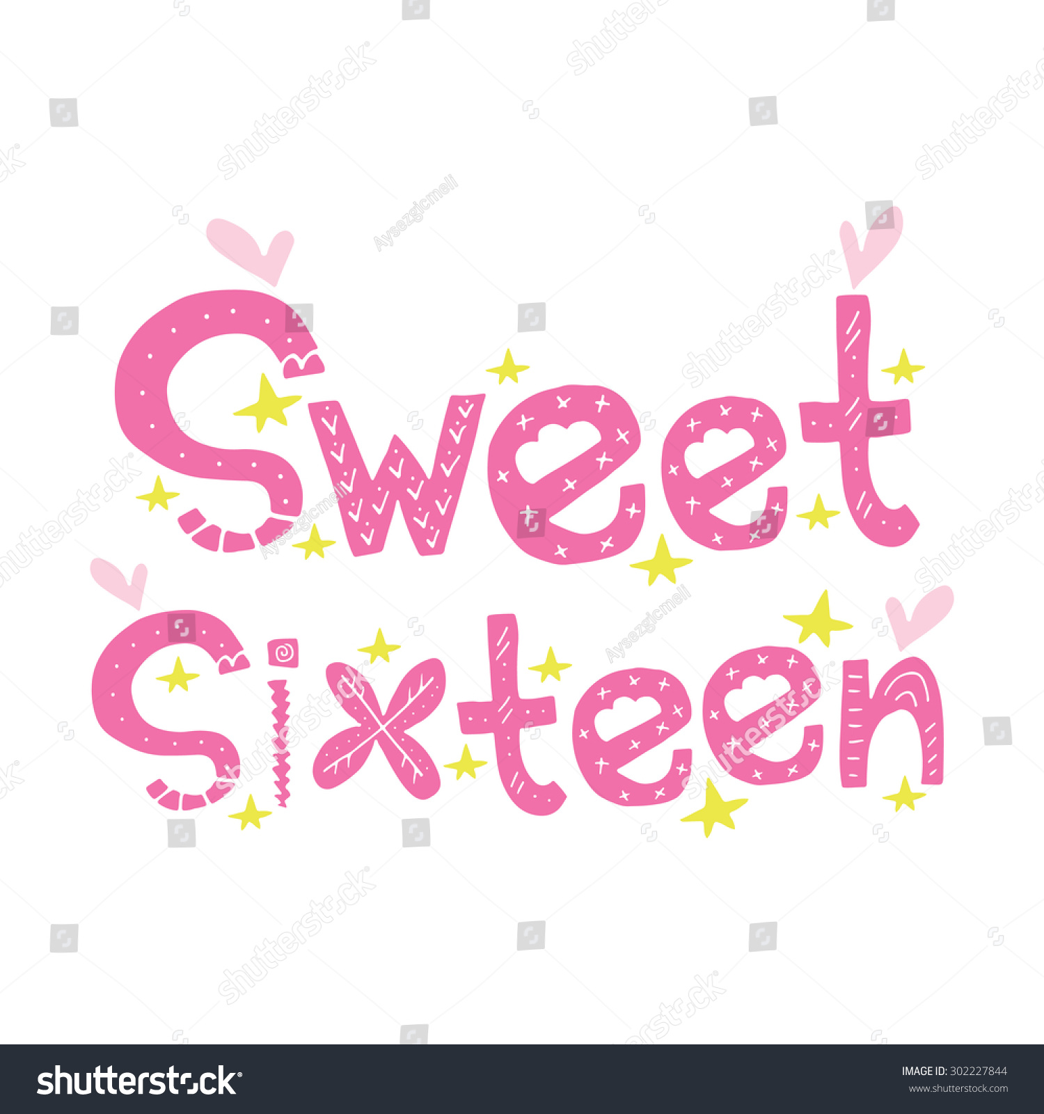 Sweet Sixteen Sign Pink Illustration Label Stock Vector Royalty
