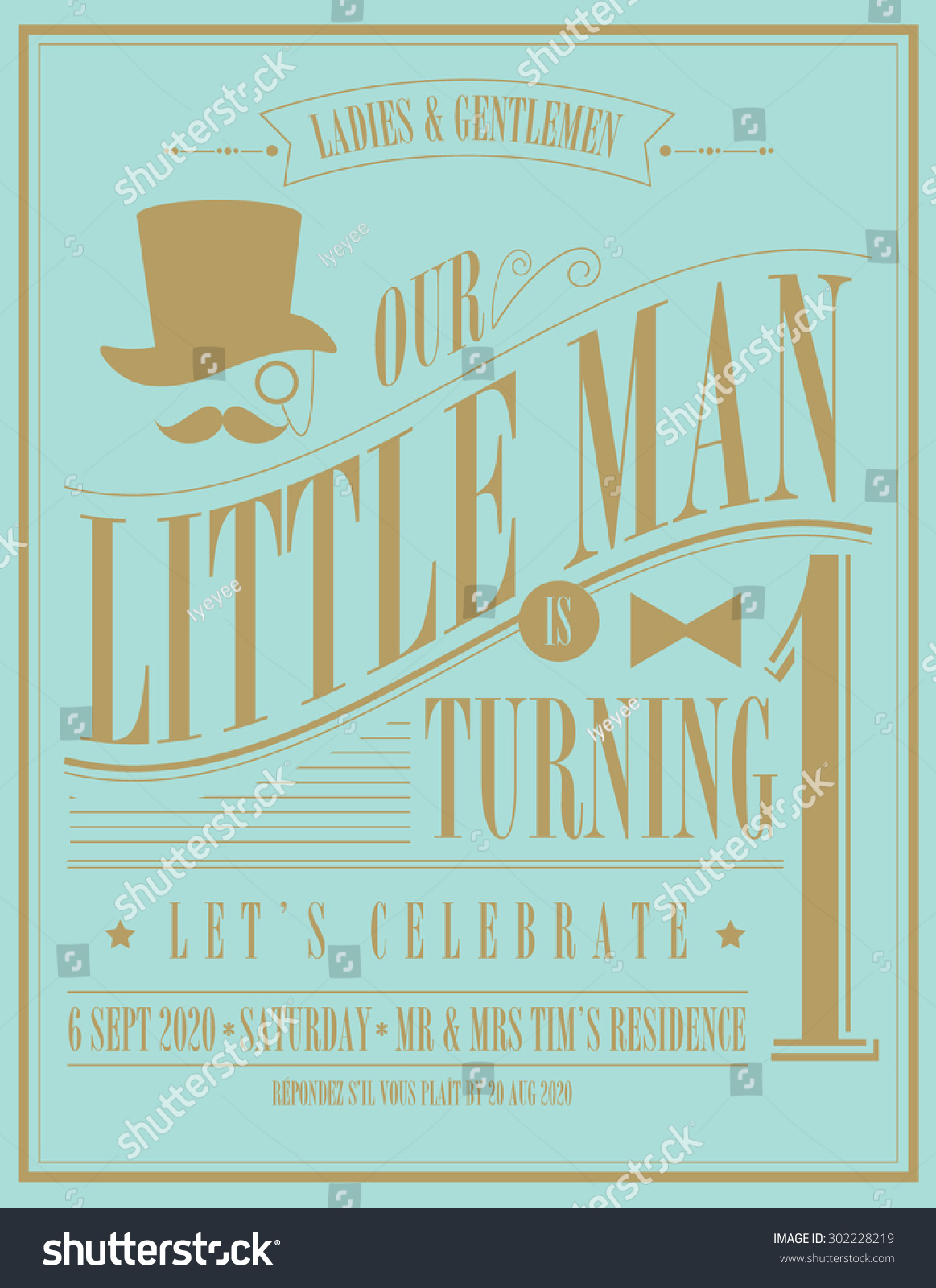 Little Man Birthday Invitation Card Template Stock Vector ...