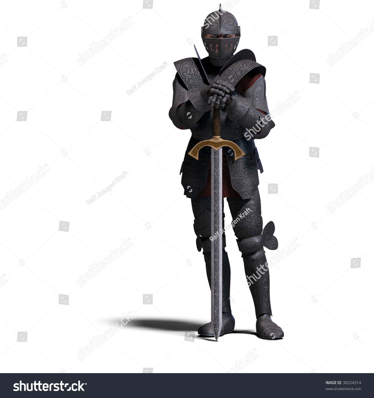 Lightning Black Knight Halberd Stock Photo The Dark Knight With Sword With