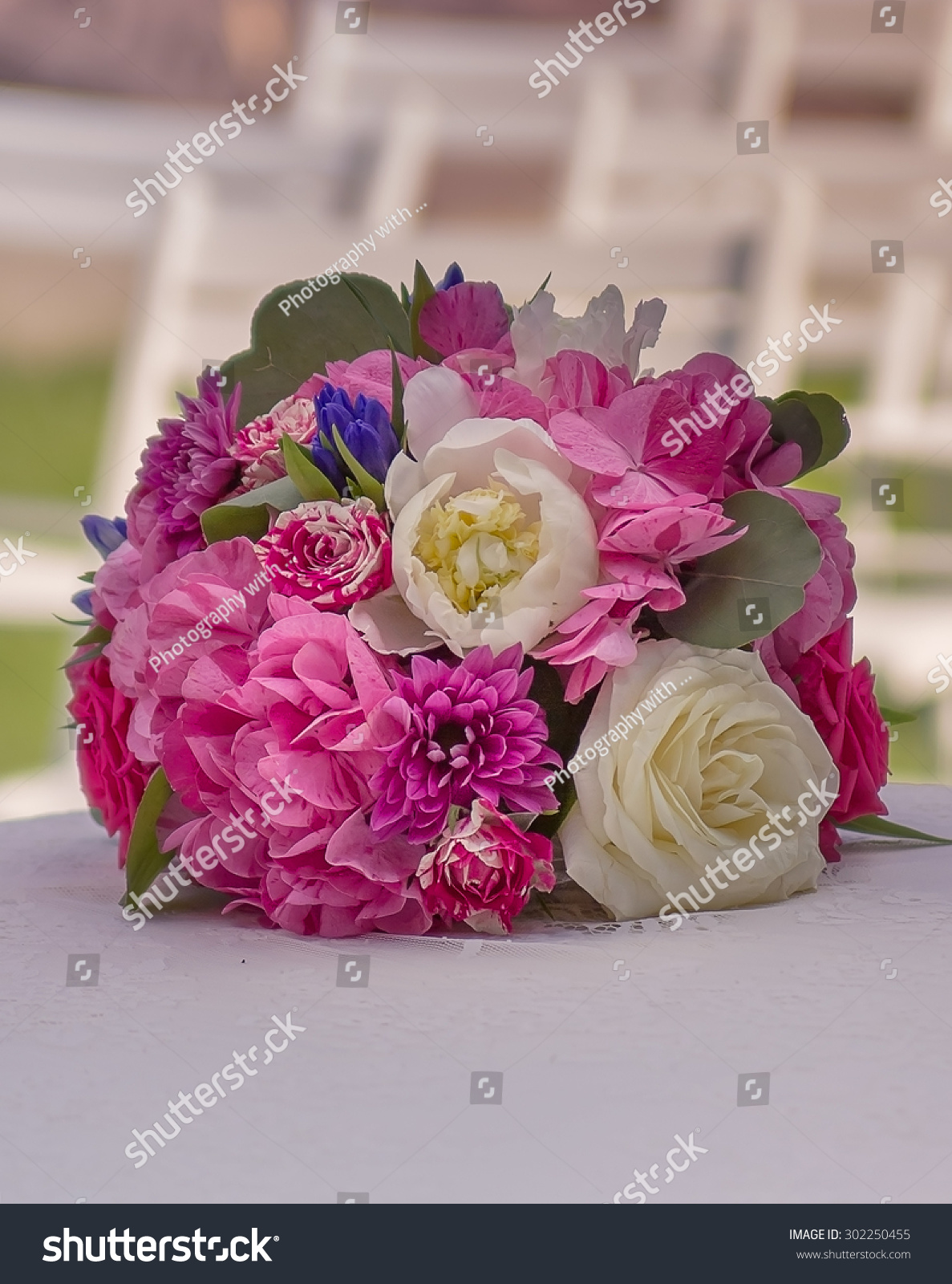 Stylish Round Bouquet Of Flowers On The Table Before Ceremony Ez