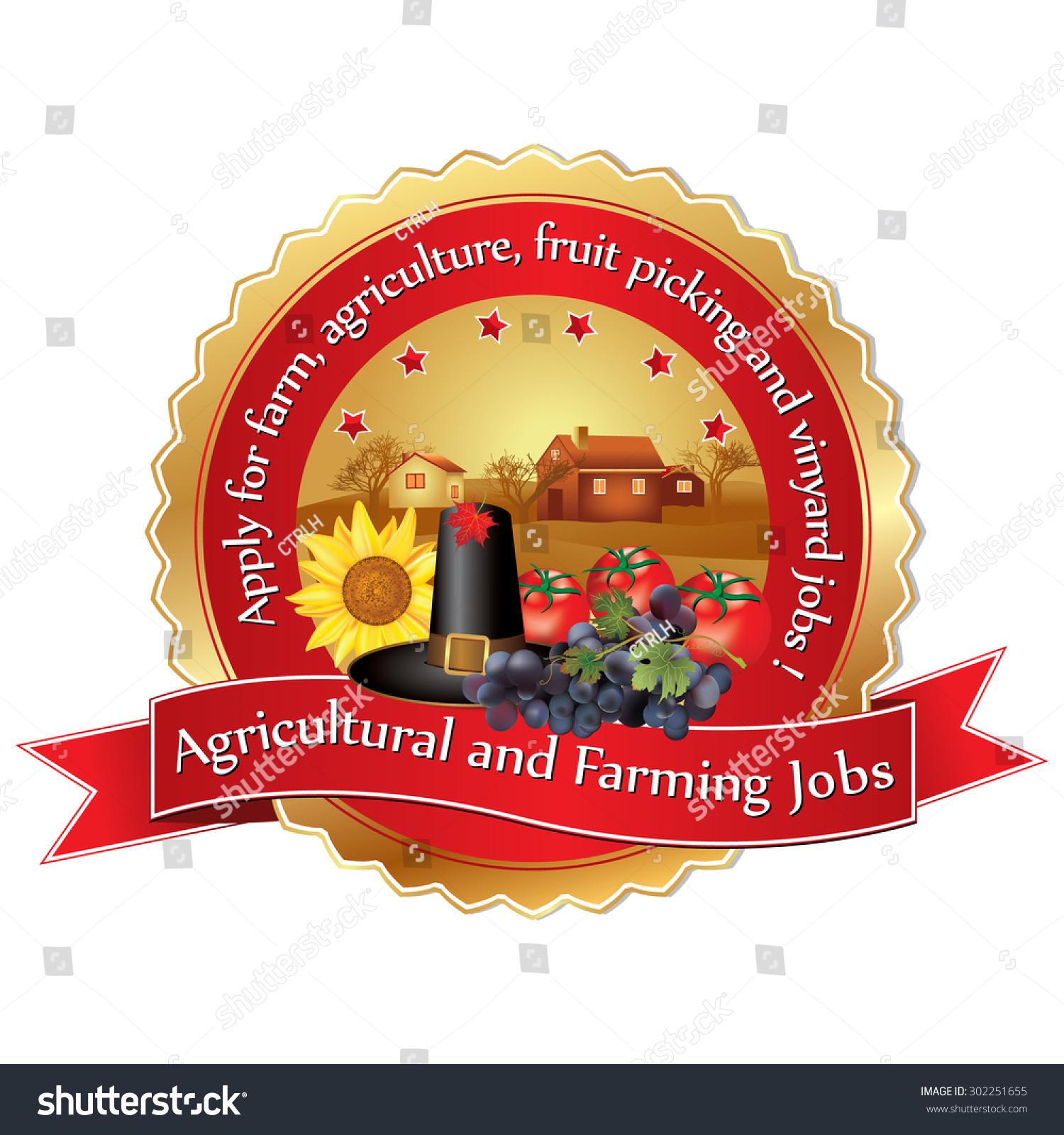 Agricultural Farming Job Vacancies Sticker Print Stock Vector