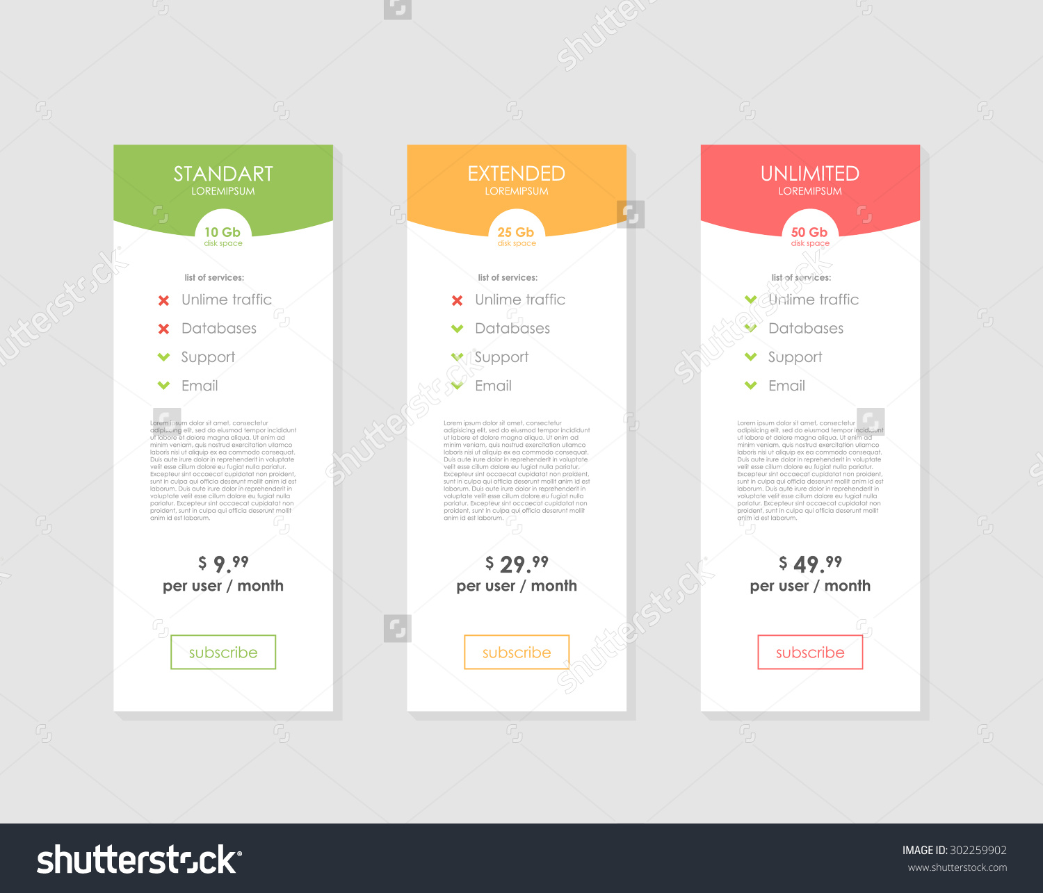 table graphic design. pricing table template with three plan type. graphic design on gray background. tariffs e