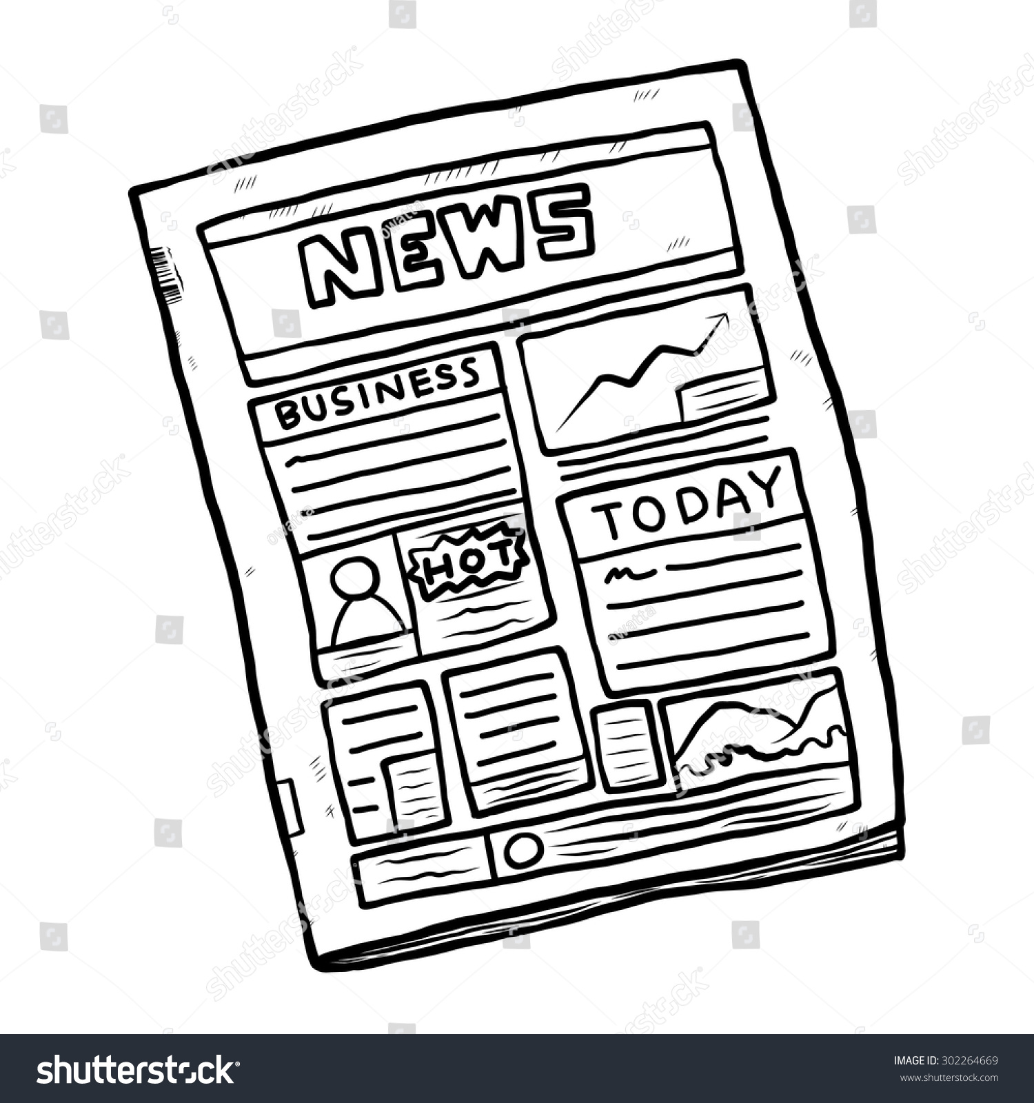 Line Drawing Newspaper : Newspaper cartoon vector illustration black white stock