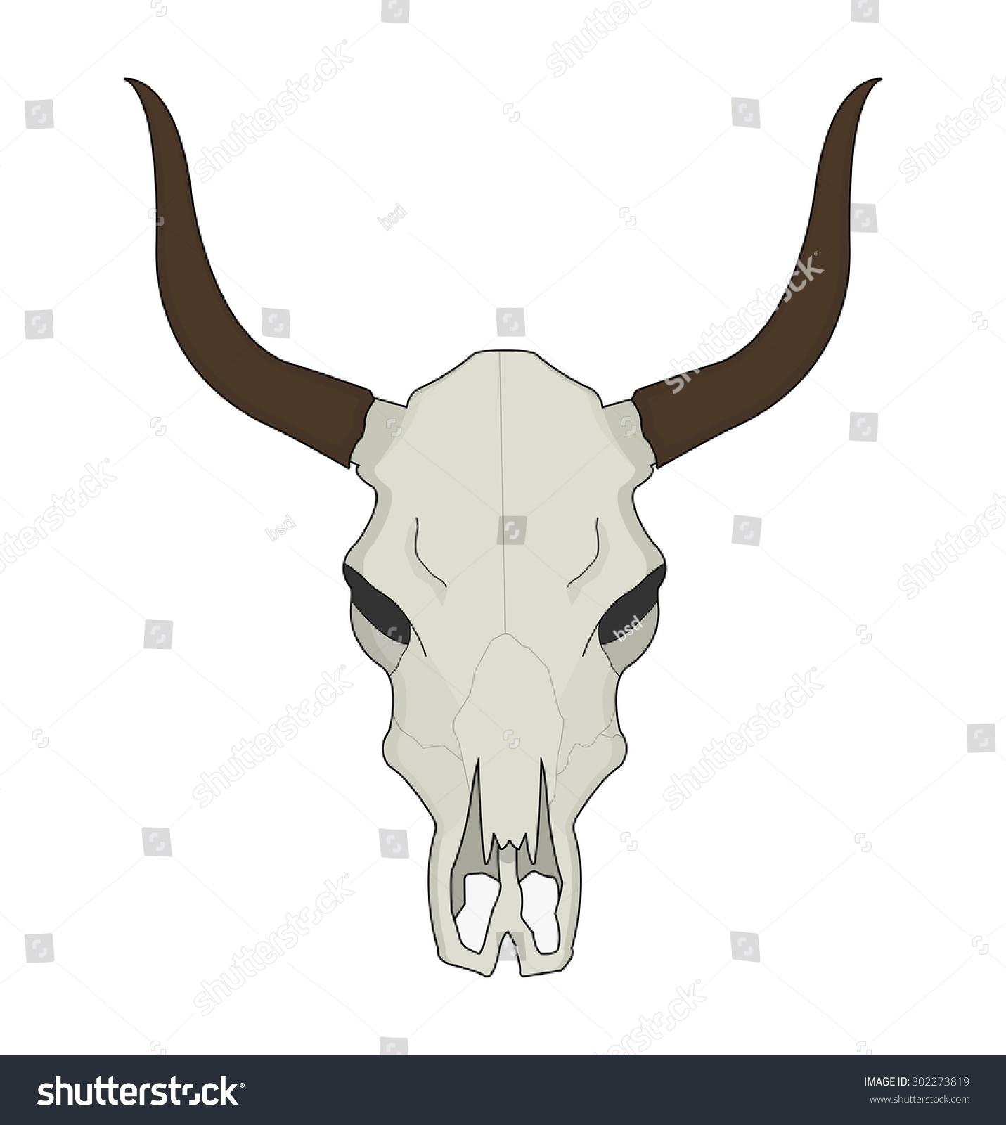Cow Skull Wild West Dead Longhorn Vector de stock302273819: Shutterstock