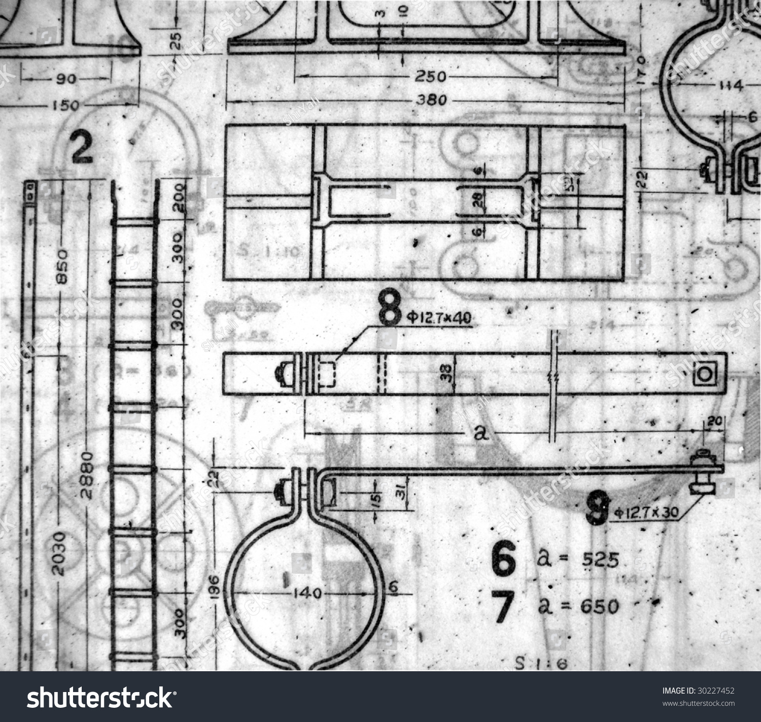 Stack old railway design blueprints printed stock photo 30227452 a stack of old railway design blueprints printed on vellum paper malvernweather Image collections