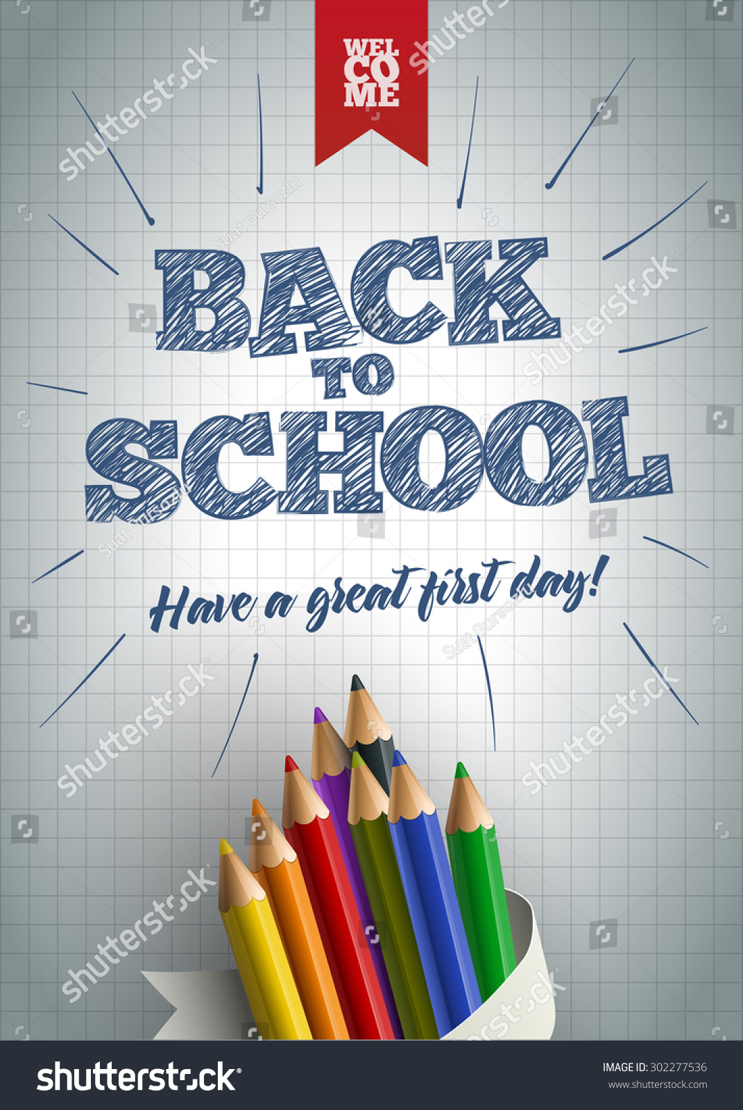 Poster design for school - Welcome Back To School Poster Design Template Hand Drawn Back To School Text With Colored