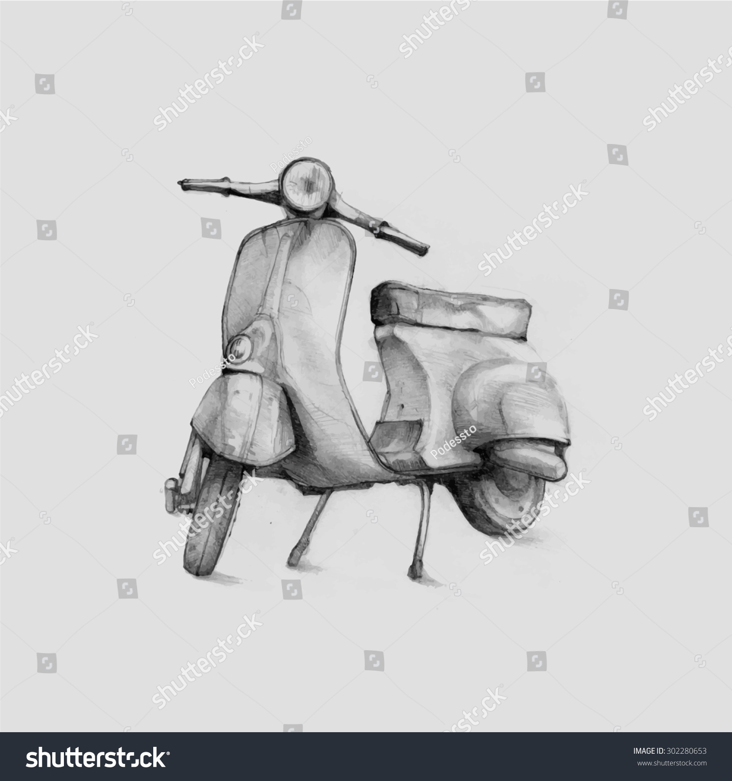 Pencil Illustration Hand Graphics Vespa Scooter Stock