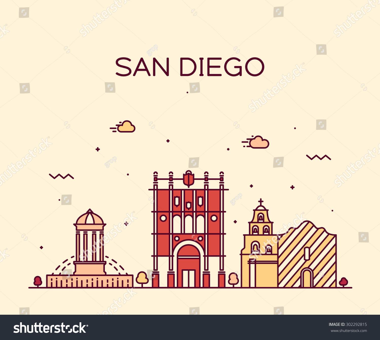 san diego skyline detailed silhouette trendy vector line art style