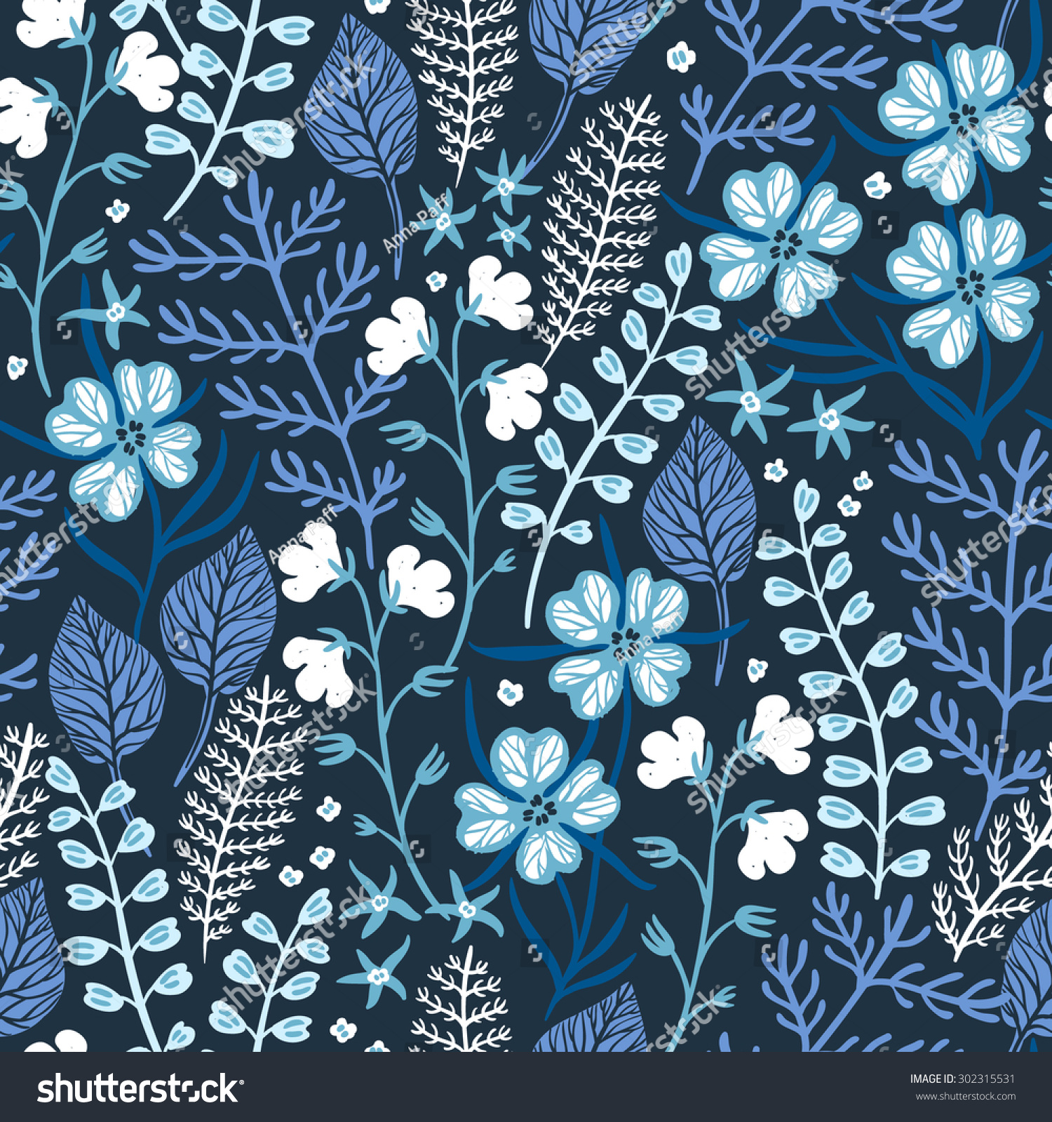 Vector Floral Seamless Pattern With Blue Plants And Flowers Ez Canvas