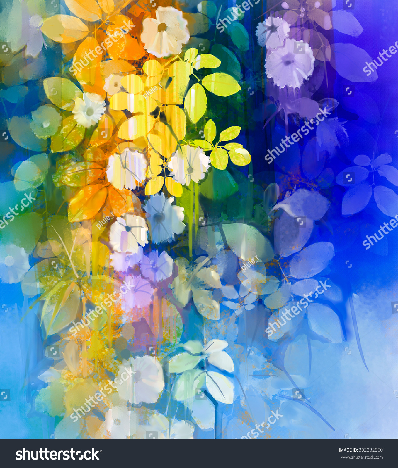 Watercolor Painting White Flowers Soft Green Stock Illustration