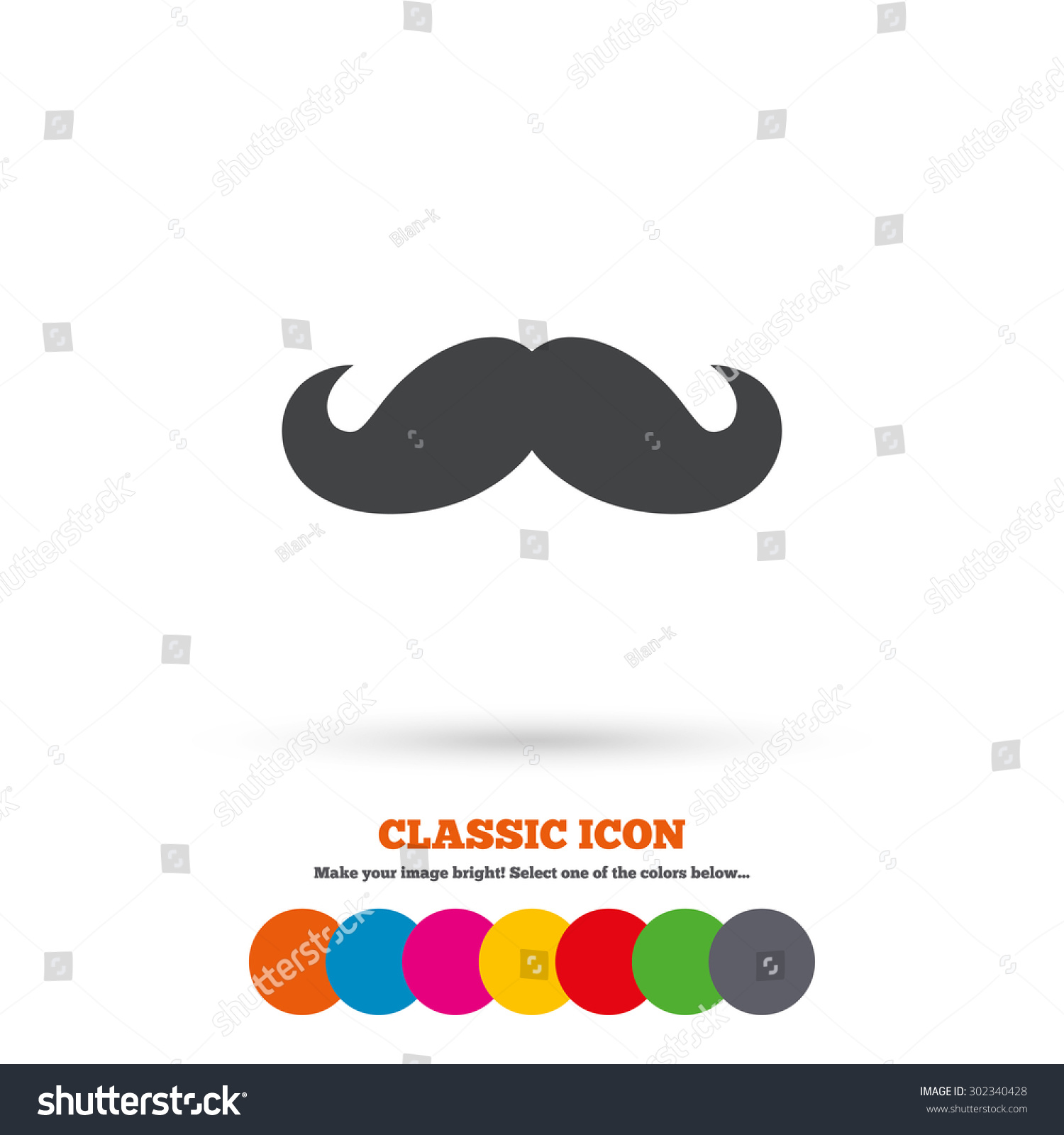 Hipster Mustache Sign Icon Barber Symbol Flat Icons Buttons With