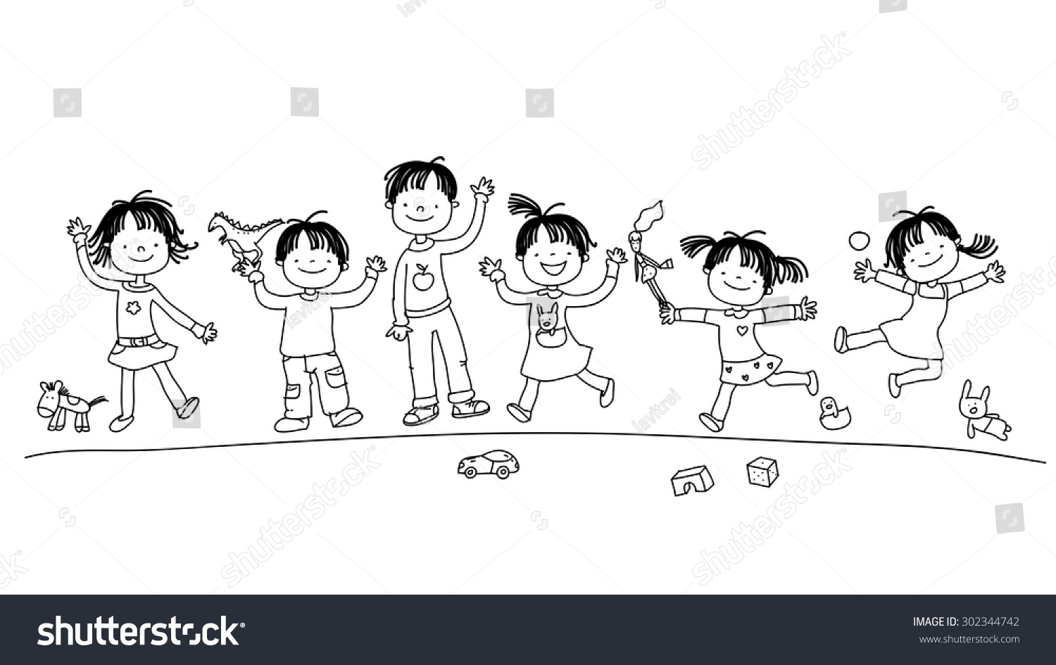 Happy Smiling Kids Group Children Playing Stock Vector Royalty Free