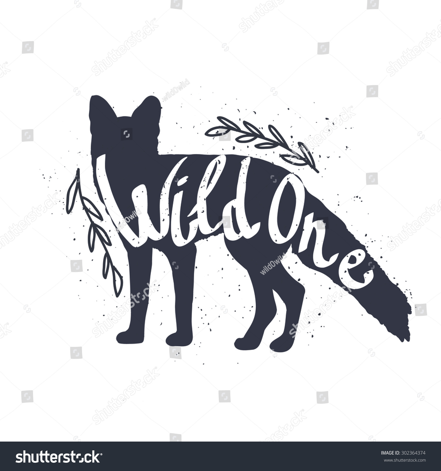 Fox silhouette handdrawn quote wild one stock vector for Wild design