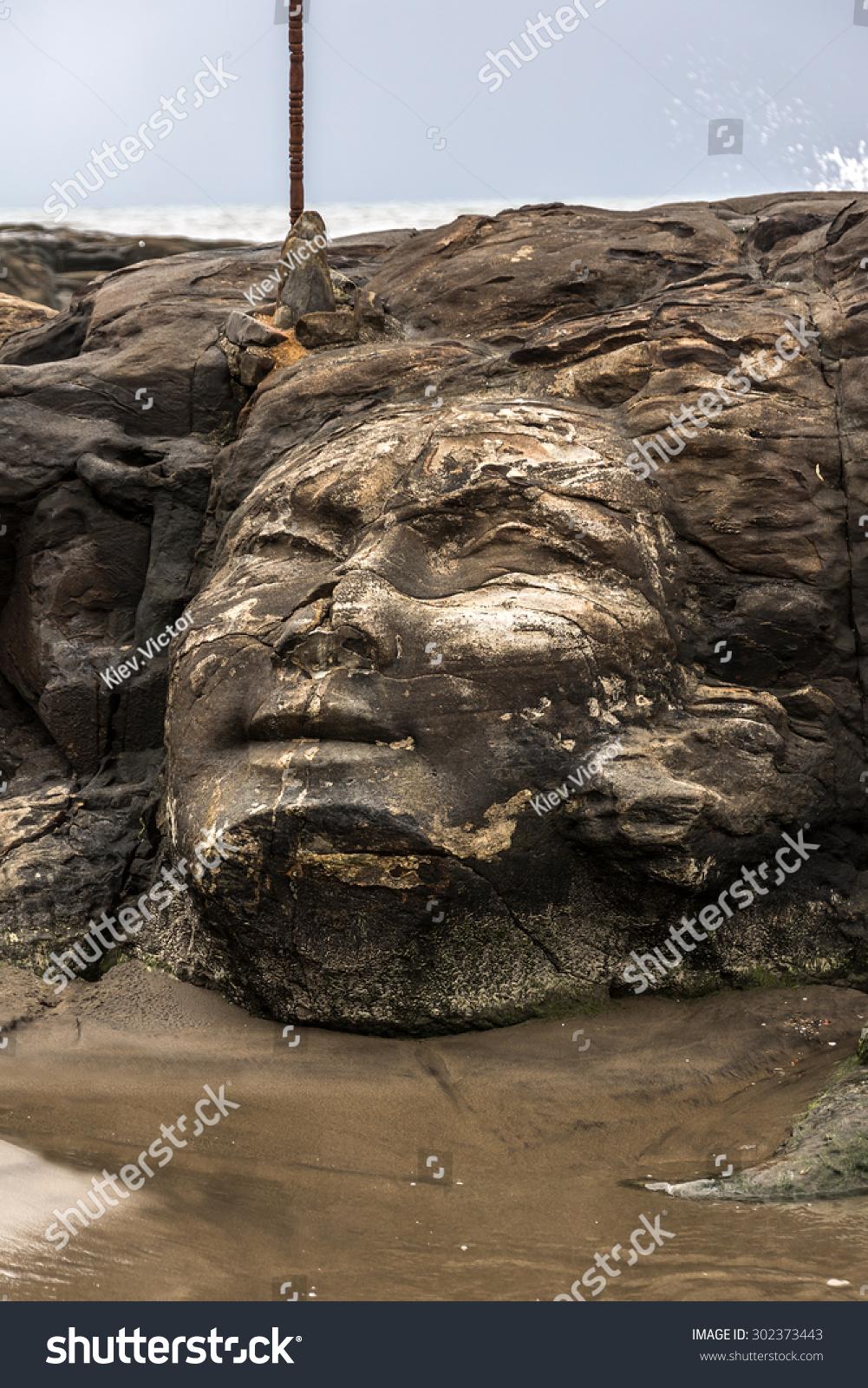 Shiva rock carving at little vagator beach goa india