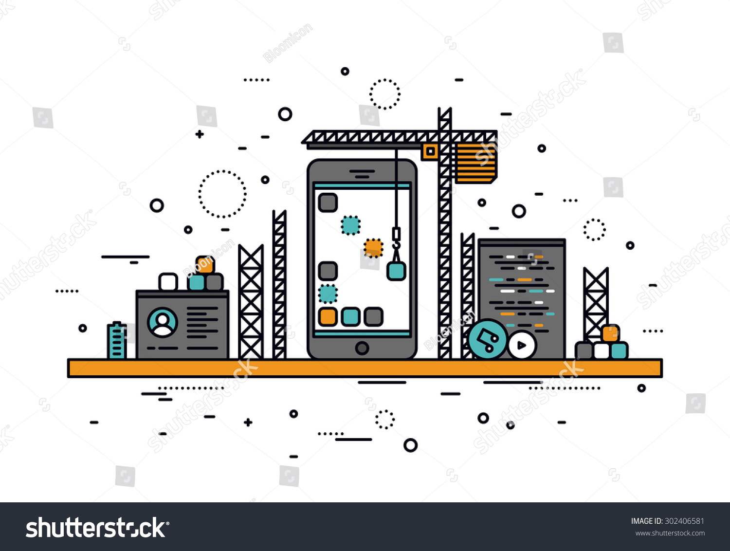 Thin line flat design of mobile app construction site for House construction app
