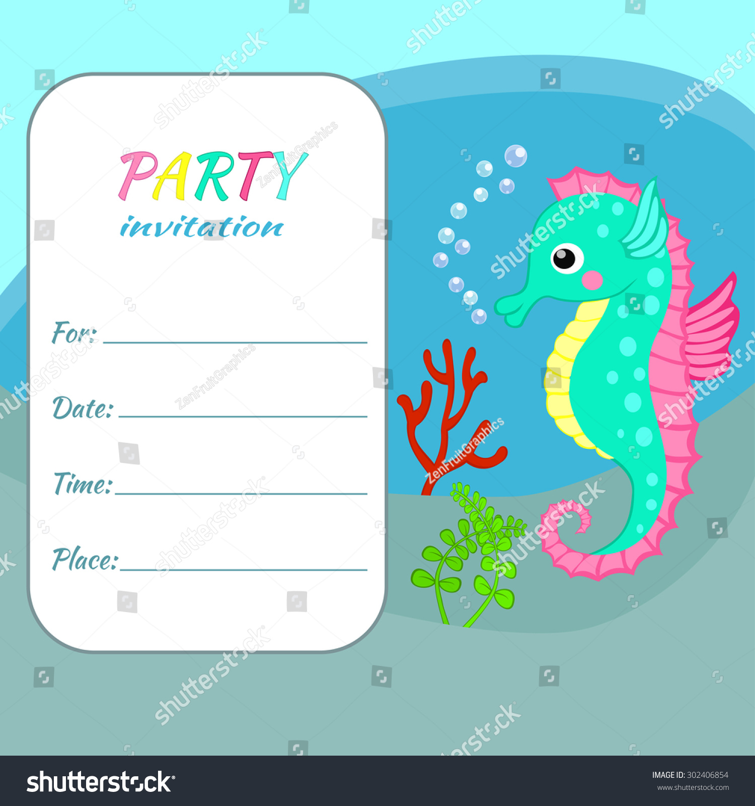 Children Birthday Party Invitation Card Template Stock Vector