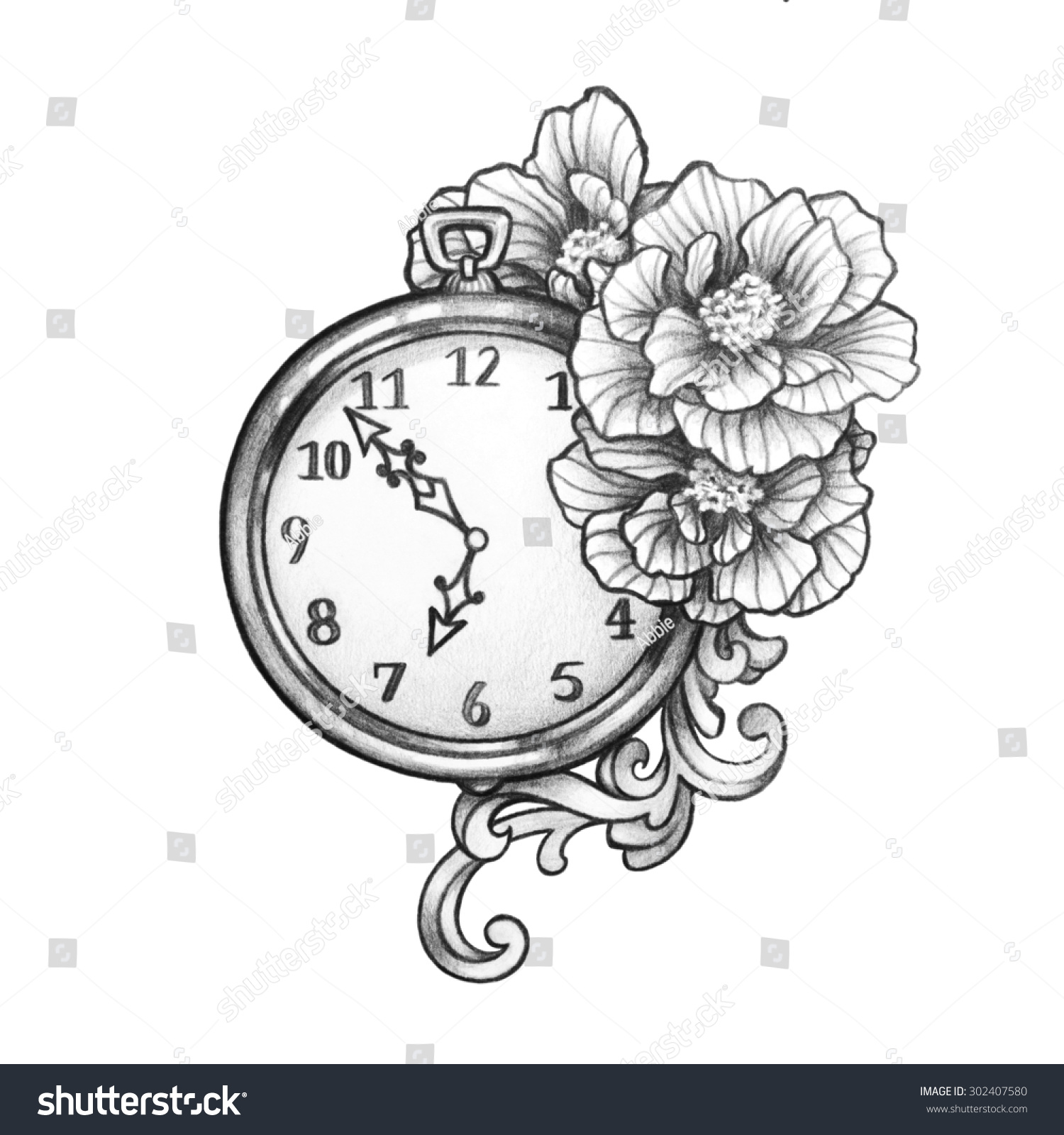 Hand Drawn Clock Watch Old Victorian Stock Illustration