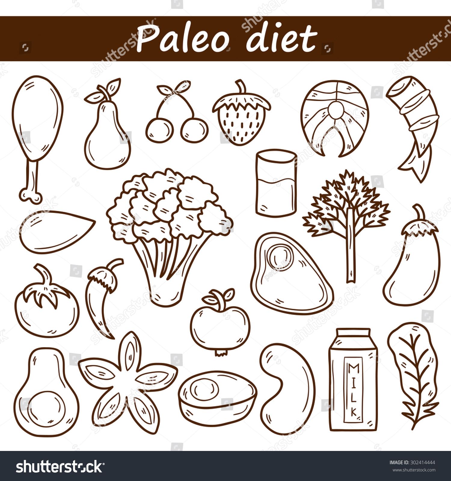 Set Of Objects In Hand Drawn Outline Style On Paleo Diet Theme: Meat, Fish, Fruits, Vegetables ...