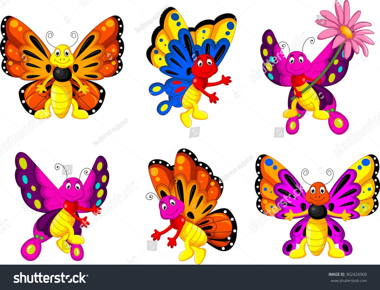 funny butterfly cartoon set stock vector 302426900 shutterstock