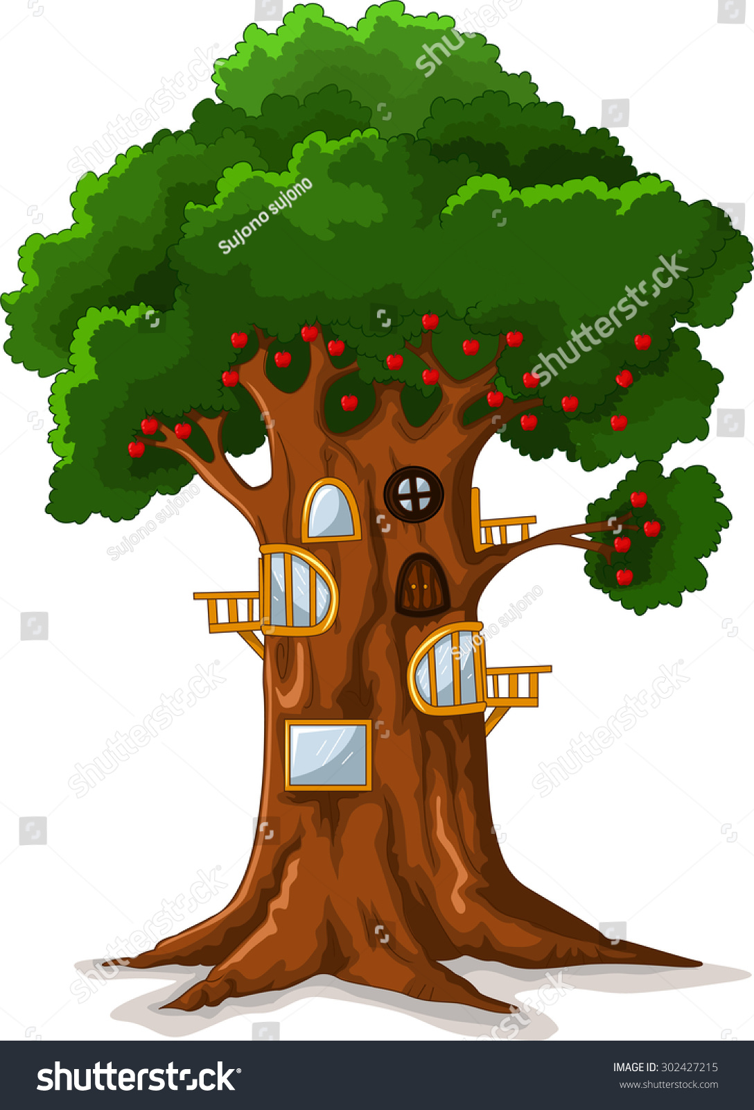 Apple Tree House Cartoon Stock Vector 302427215 Shutterstock