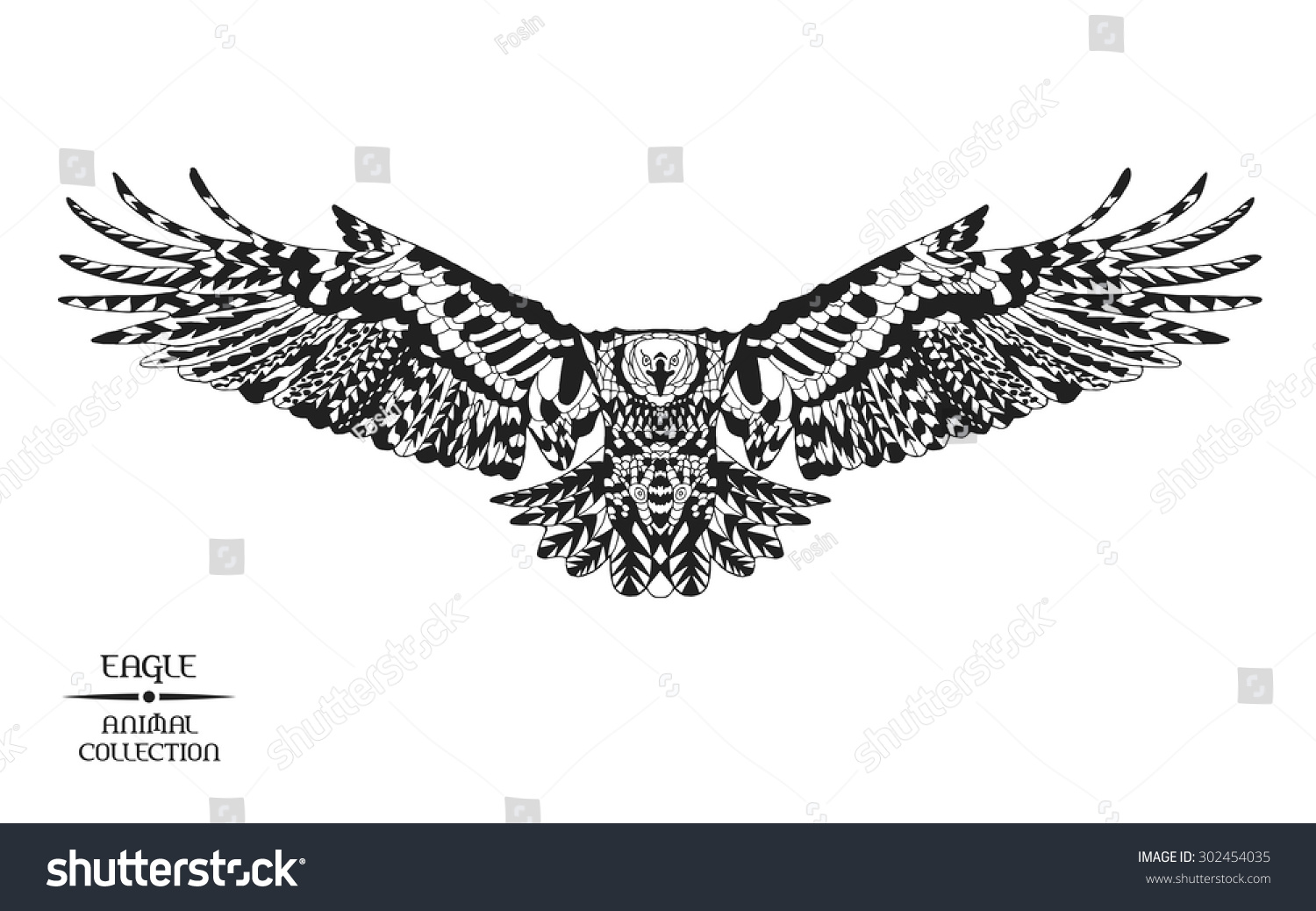 eagle mandala coloring pages - eagle black white hand drawn doodle stock vector 302454035