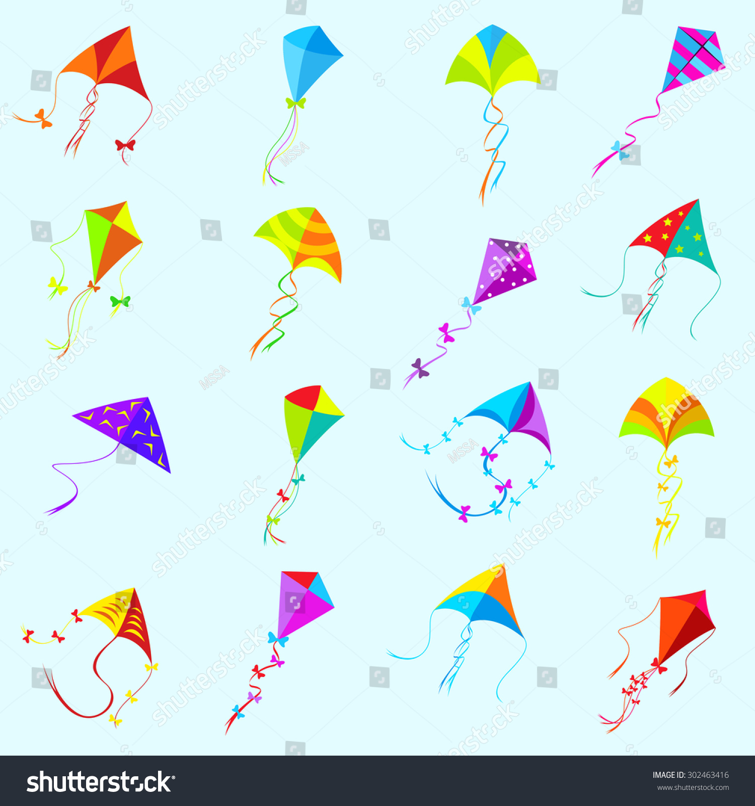 Vector color kite set toy isolated stock vector 302463416 vector color kite set toy isolated object and game collection group different biocorpaavc