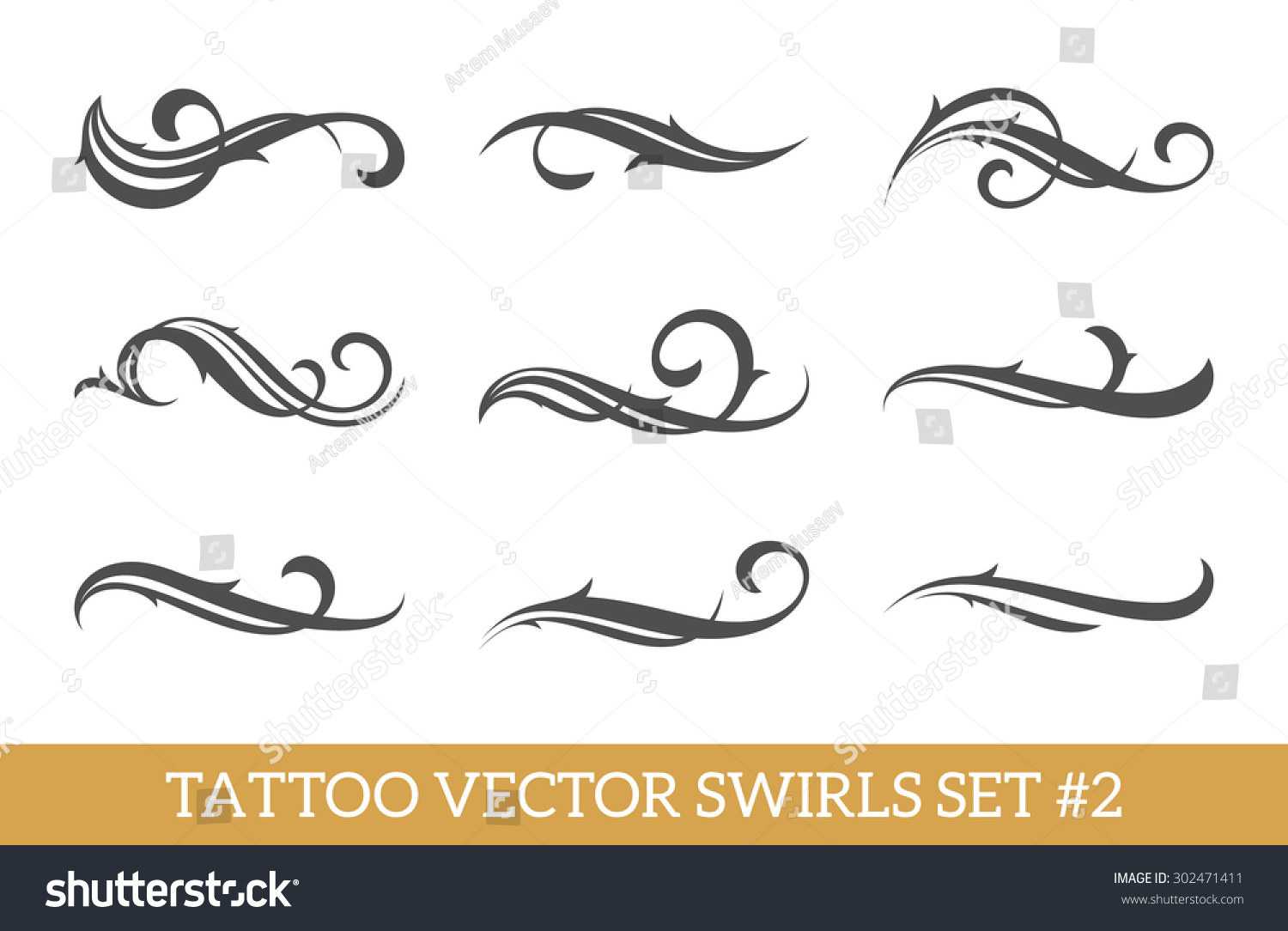 Set Of Nine Vector Tattoo Style Swirls For Cool Art Or