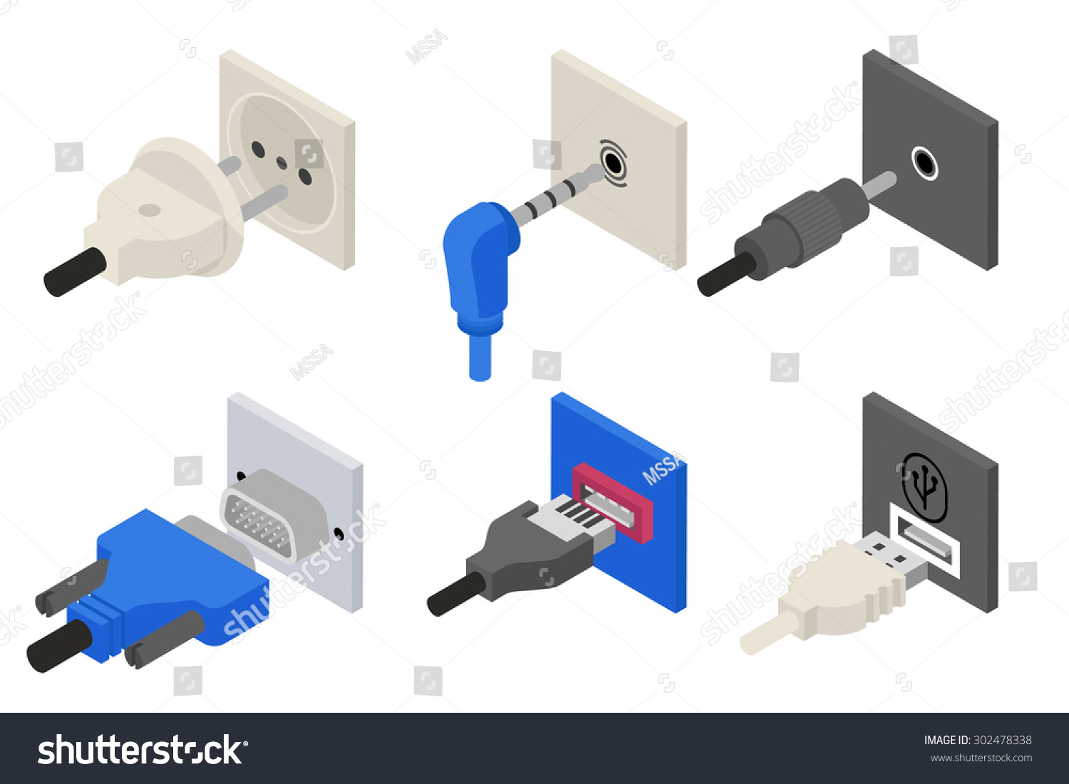 Plugs Icons Isometric 3 D Vector Power Stock Vector 302478338 ...