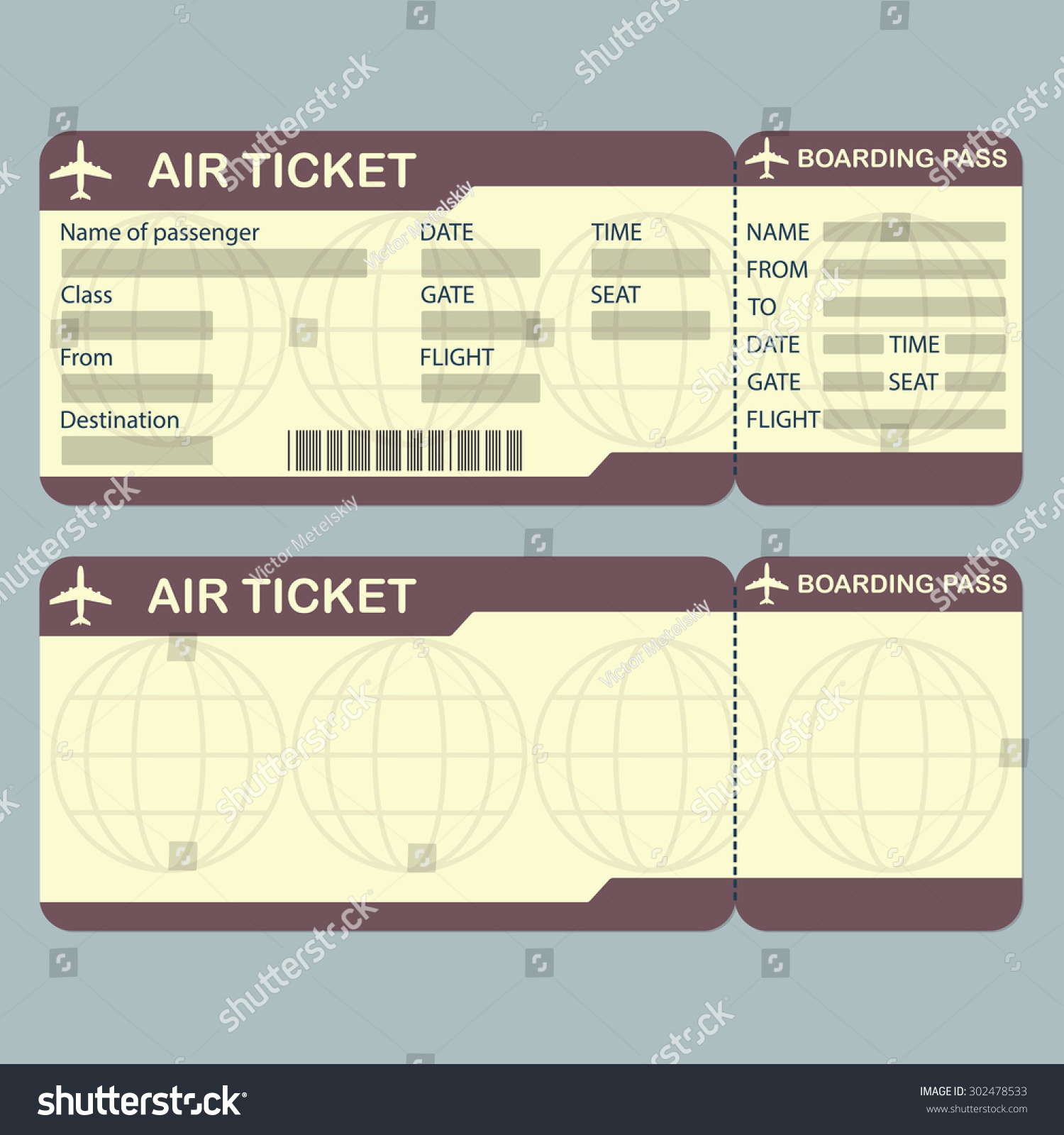 Blank airline ticket template airline boarding pass ticket template detailed blank of airplane pronofoot35fo Images
