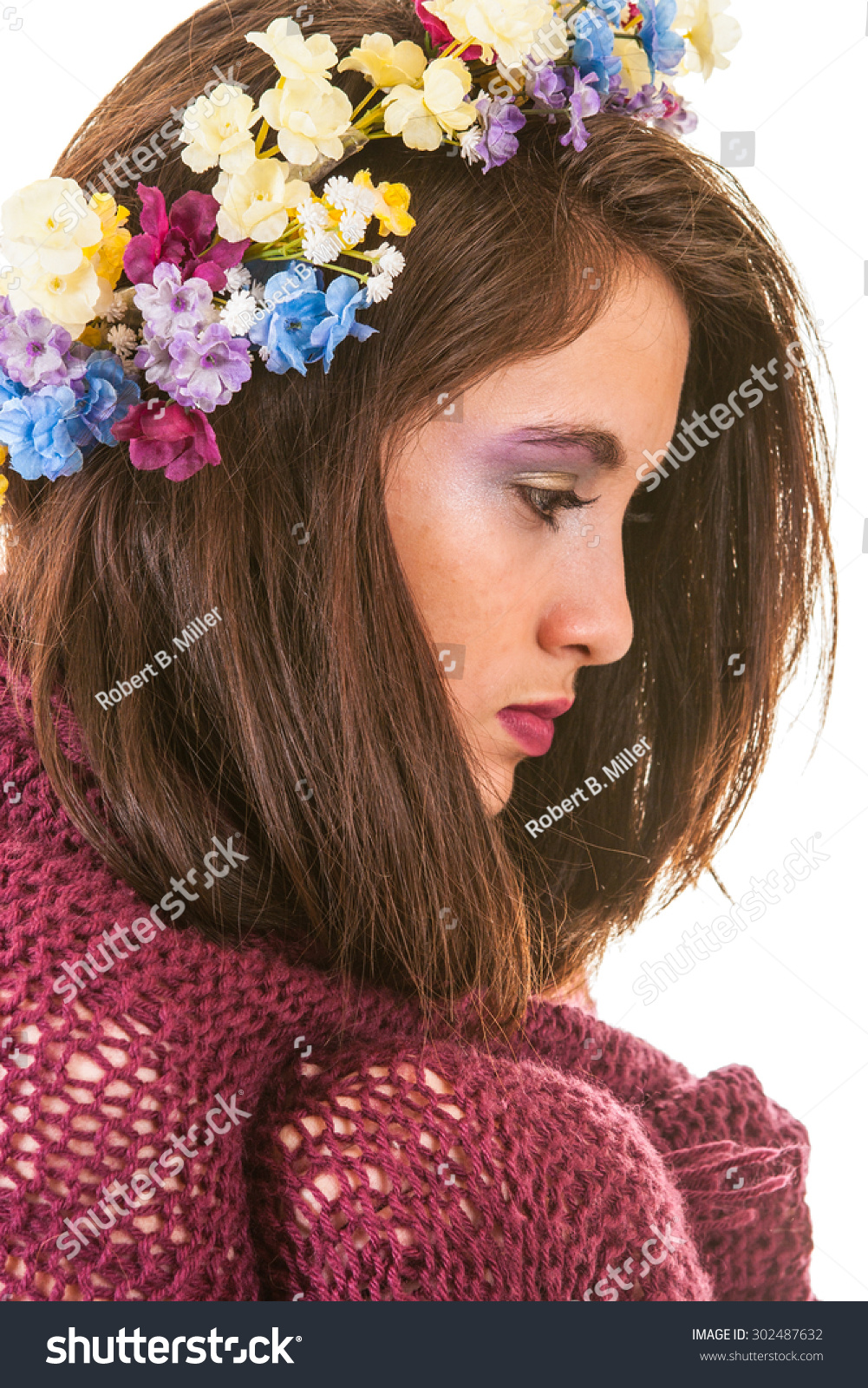 Pretty Young Woman Flower Crown Red Stock Photo Edit Now 302487632