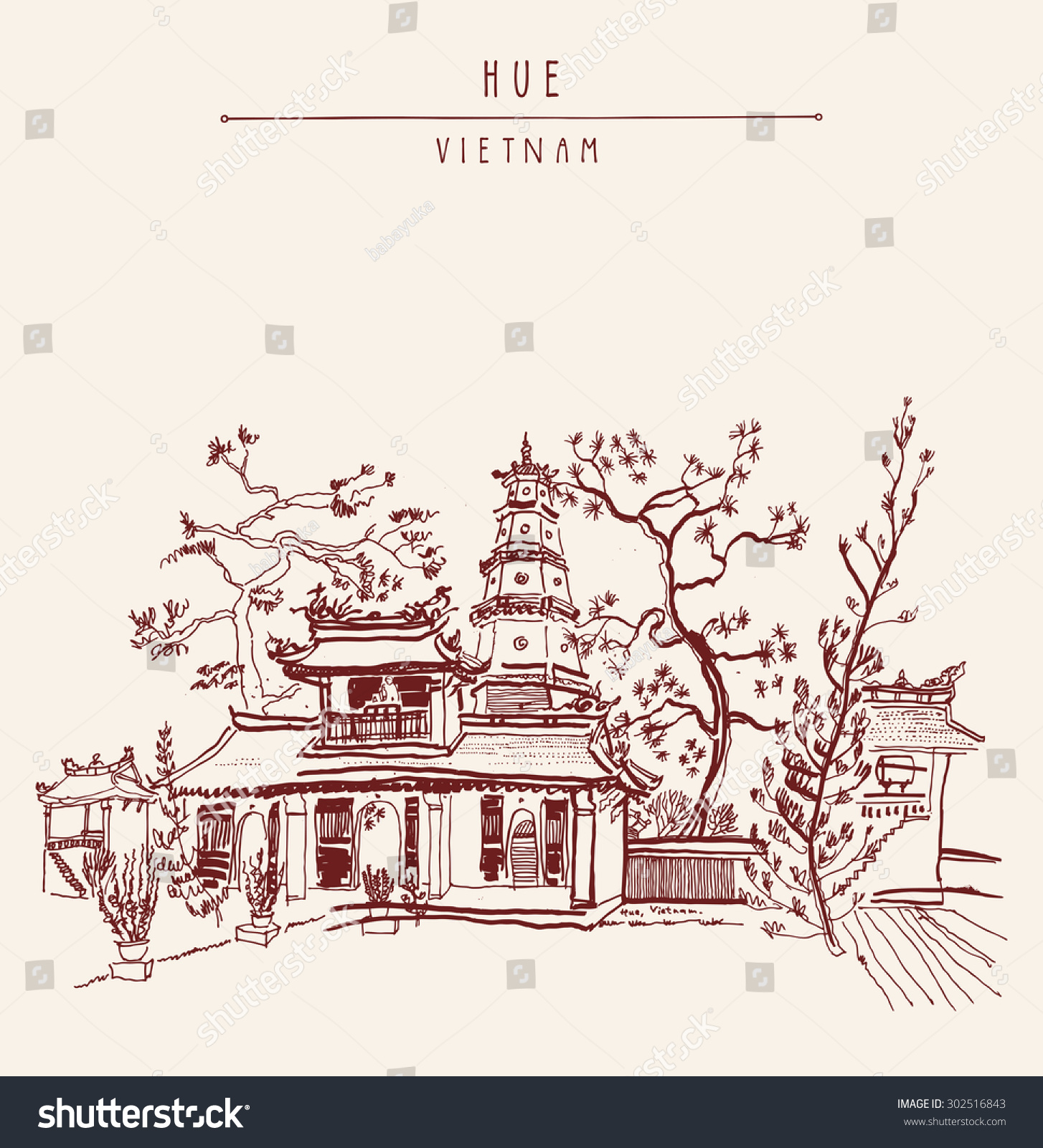 Royalty free hue vietnam southeast asia thien mu 302516843 hue vietnam southeast asia thien mu pagoda historic temple religious building former imperial capitals unofficial symbol vector freehand drawing biocorpaavc