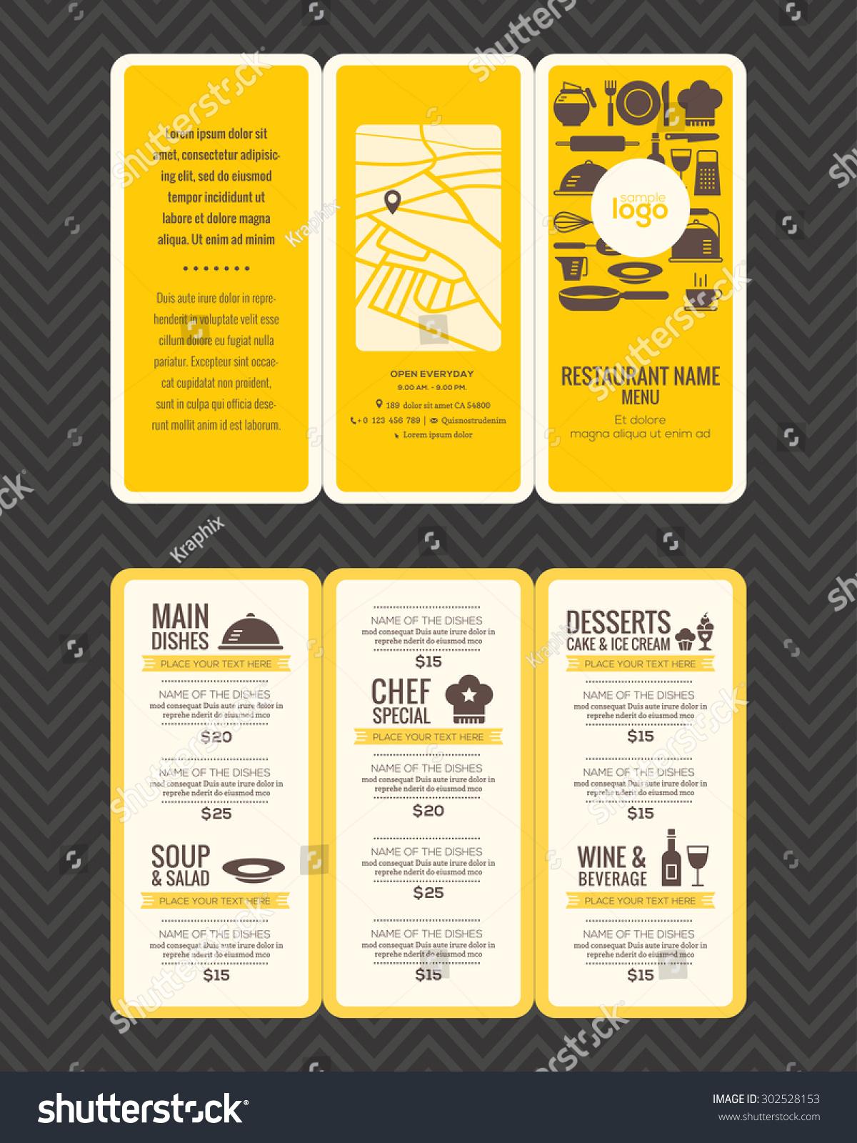 modern restaurant menu design pamphlet vector template in