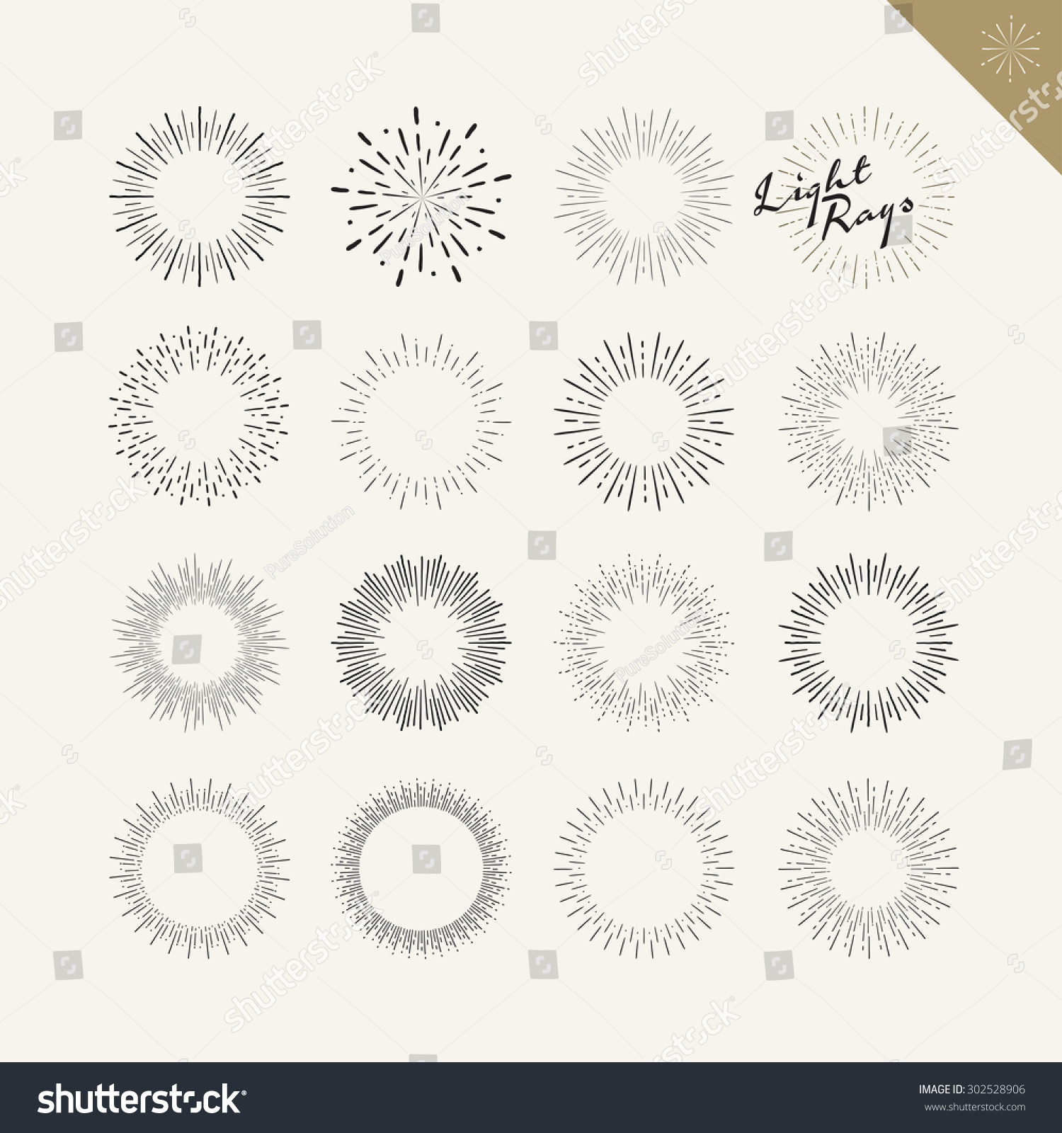 Set Light Rays Vintage Design Elements Stock Vector 302528906 ... for Vector Light Rays Vintage  103wja