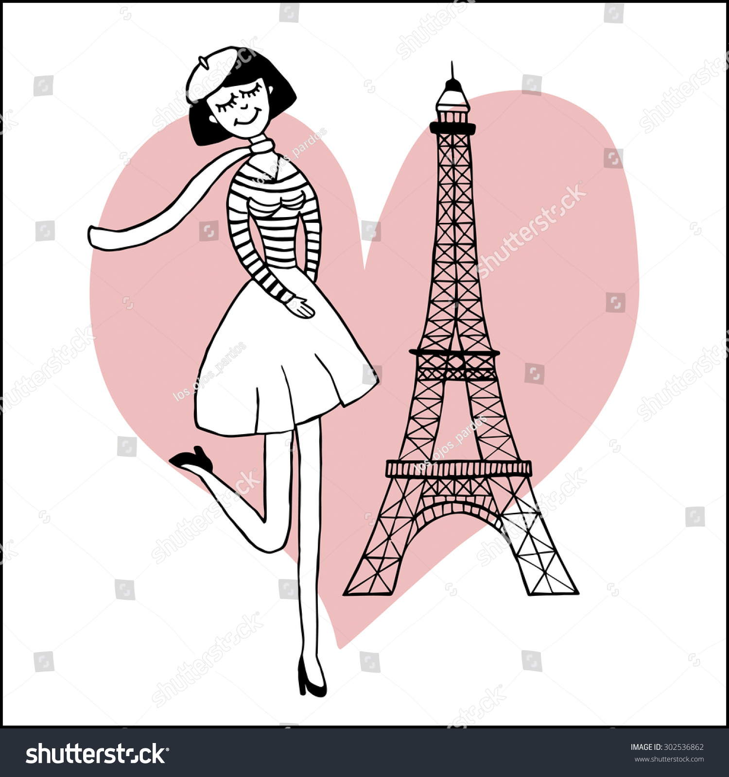 paris inspired postcard template images beautiful stock vector