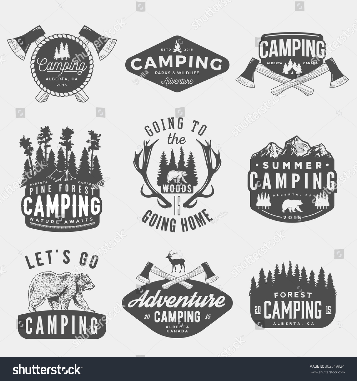 vector set camping vintage logos emblems stock vector 302549924