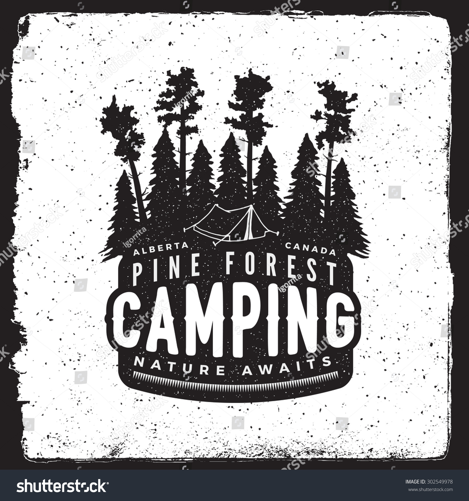 Camping Vintage Emblem Logotype Template Forest Stock Vector ...