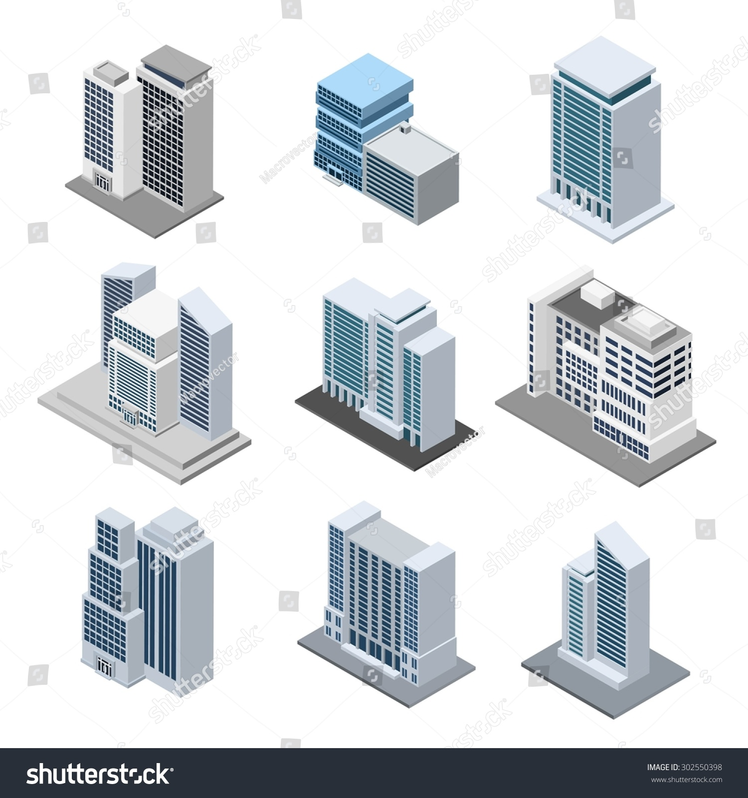 office building isometric 3d skyscrapers icons stock