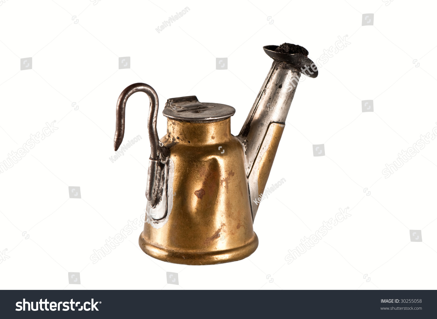 Antique Teapot Miners Lamp Isolated Stock Photo 30255058