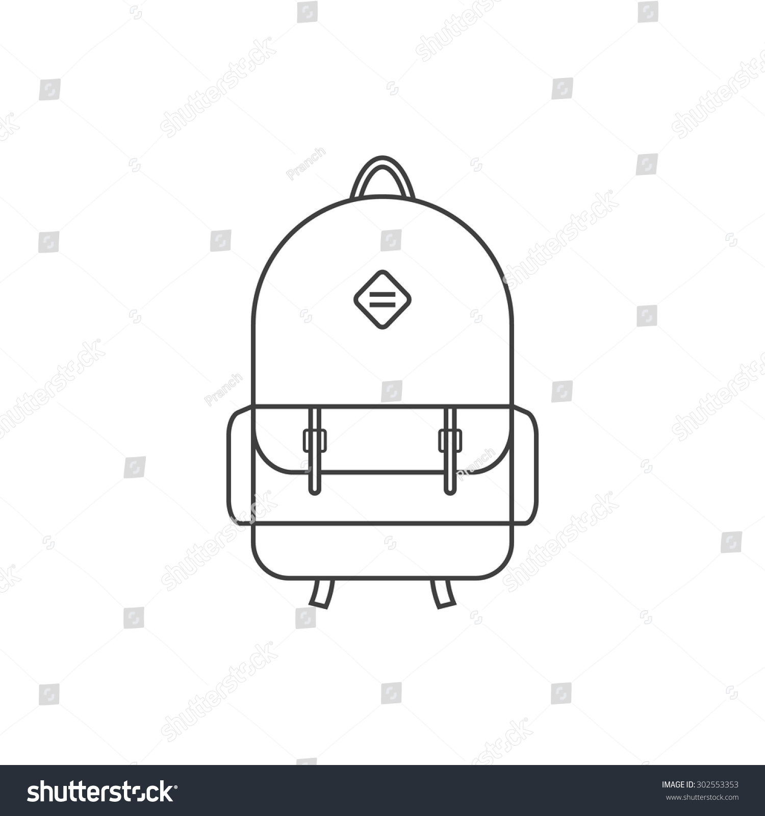 School bag diagram - Thin Line Black Backpack Icon Concept Of Camping Recreation Route Haversack Schoolbag