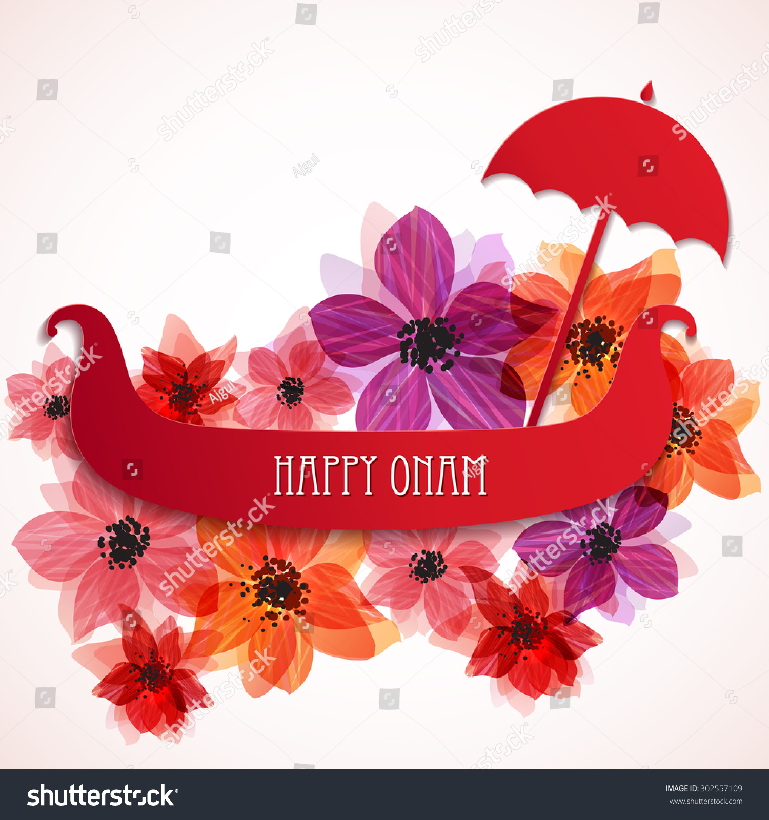 Happy Onam Background Banner Greeting Card Stock Vector Royalty