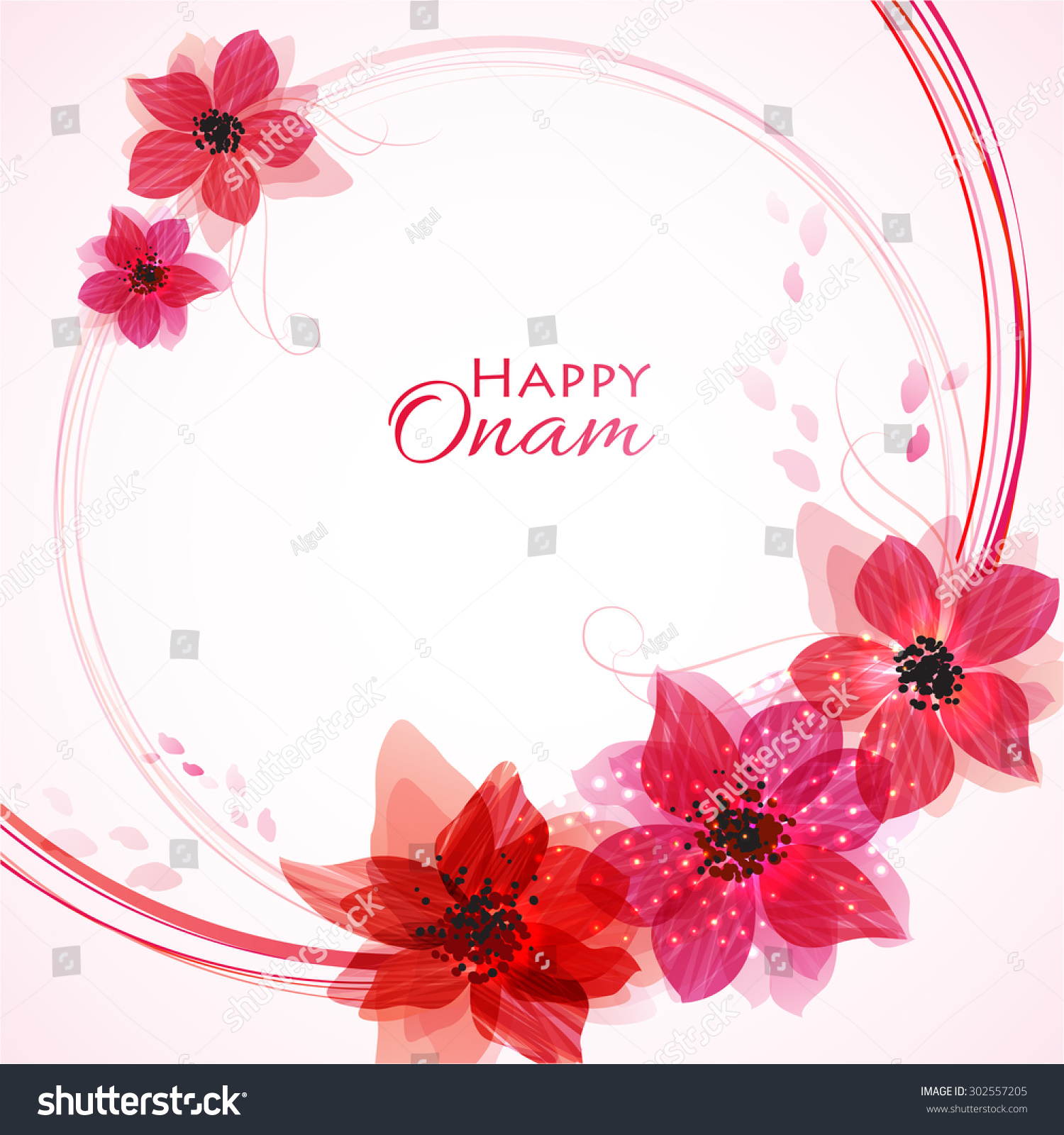 Happy Onam Flower Greetings South Indian Stock Vector Royalty Free